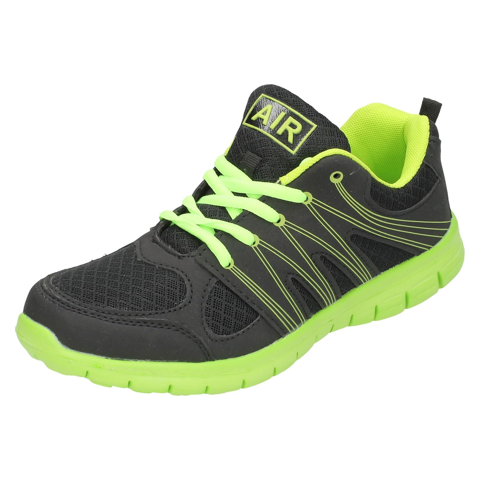 59a6c49804a9 Mens Airtech Trainers Label Sprint Black  Neon Green 8 UK Standard ...