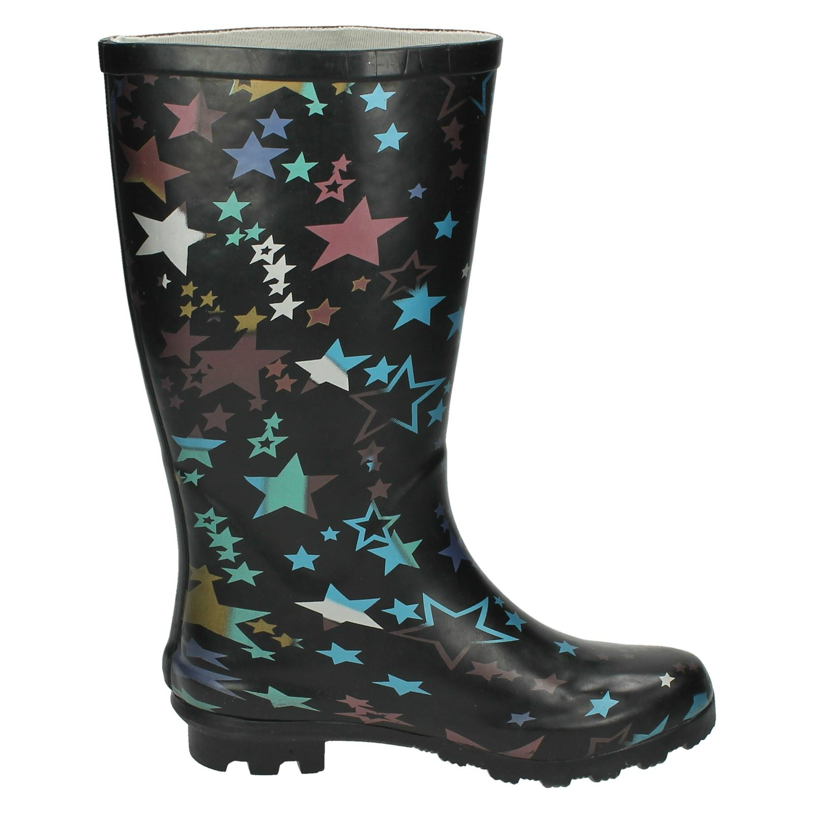 Girls Spot On Star Printed Pull On Wellies