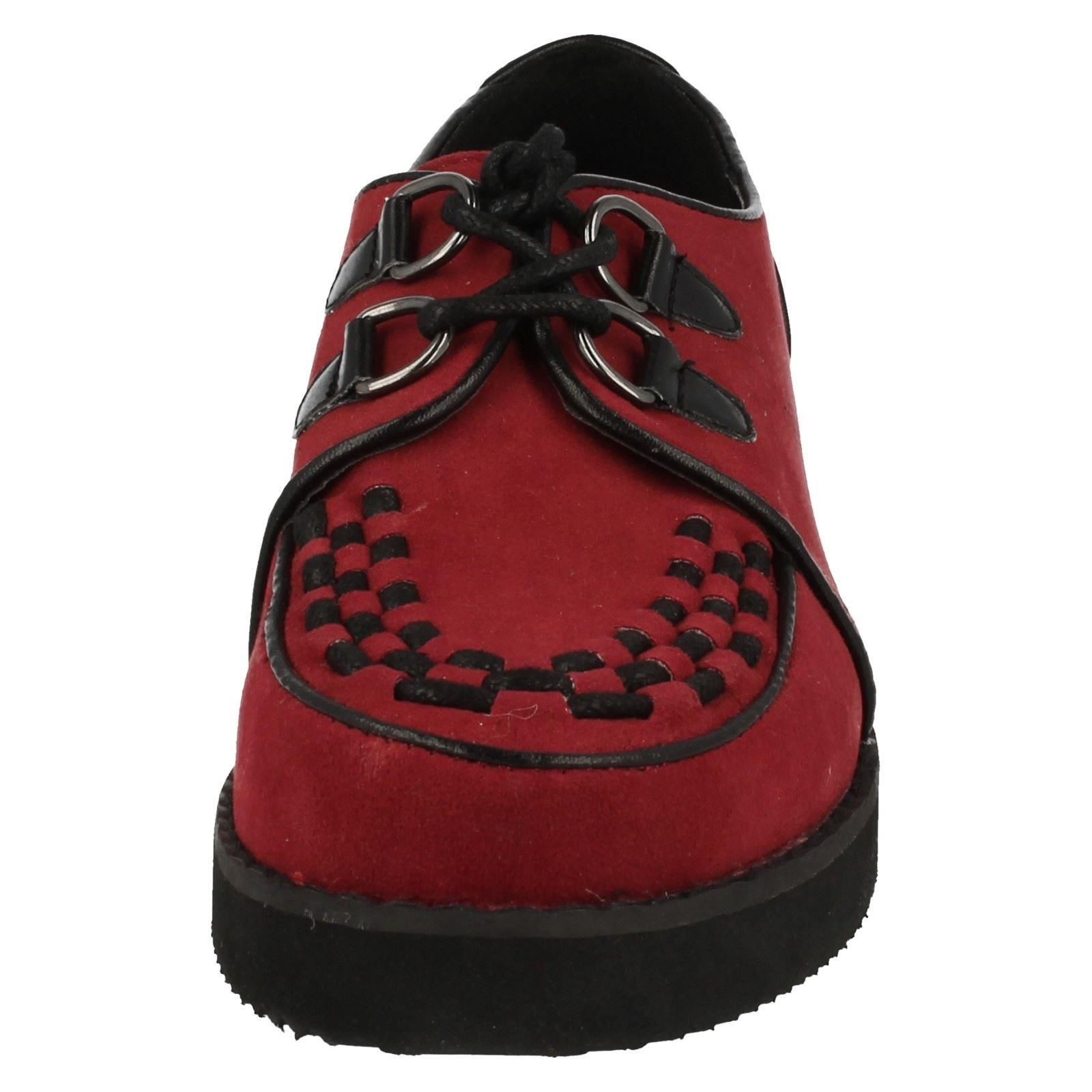 9c821274ee5 Ladies Spot on Chunky Sole Shoes F9568 Red UK 4 Standard