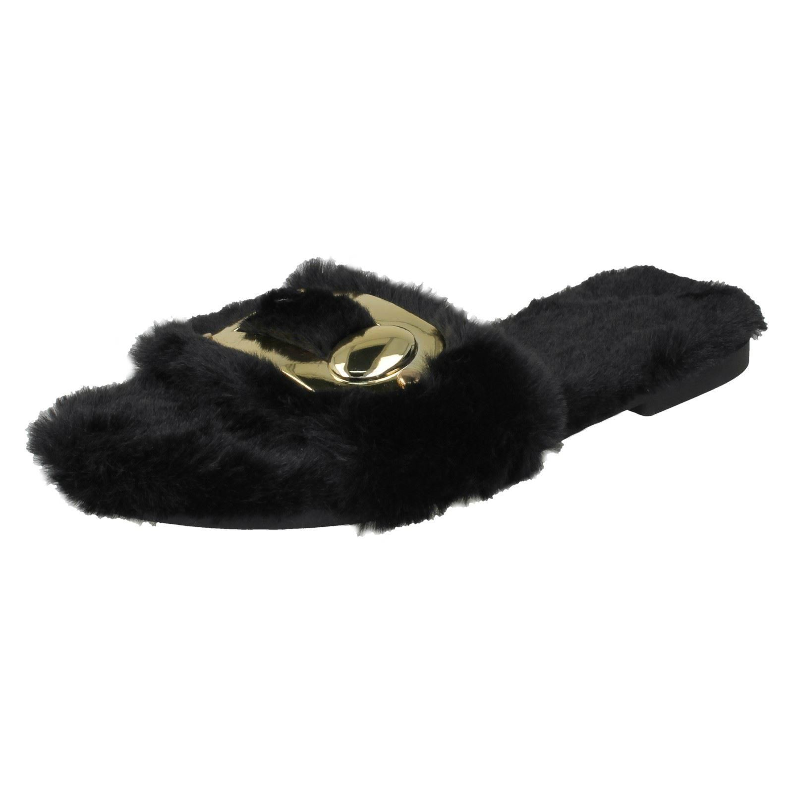 Ladies Spot On Flat Fur Mules