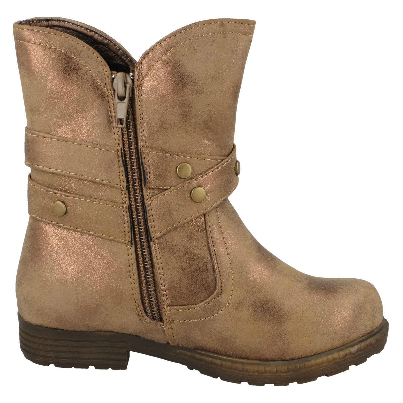 Girls Spot On Ankle Boots With Buckle Design