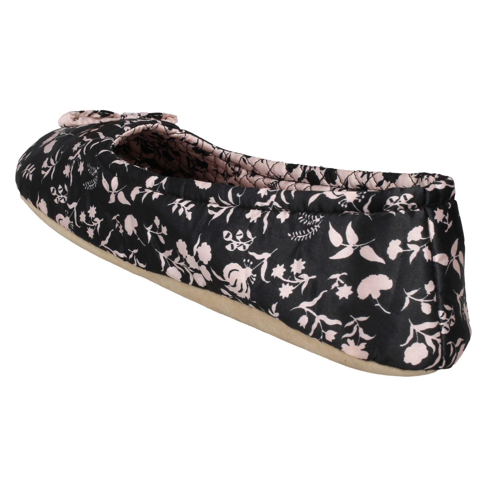 Spot Flower On Black Slippers pink Print Ladies Ballerina wqTFgAEwd