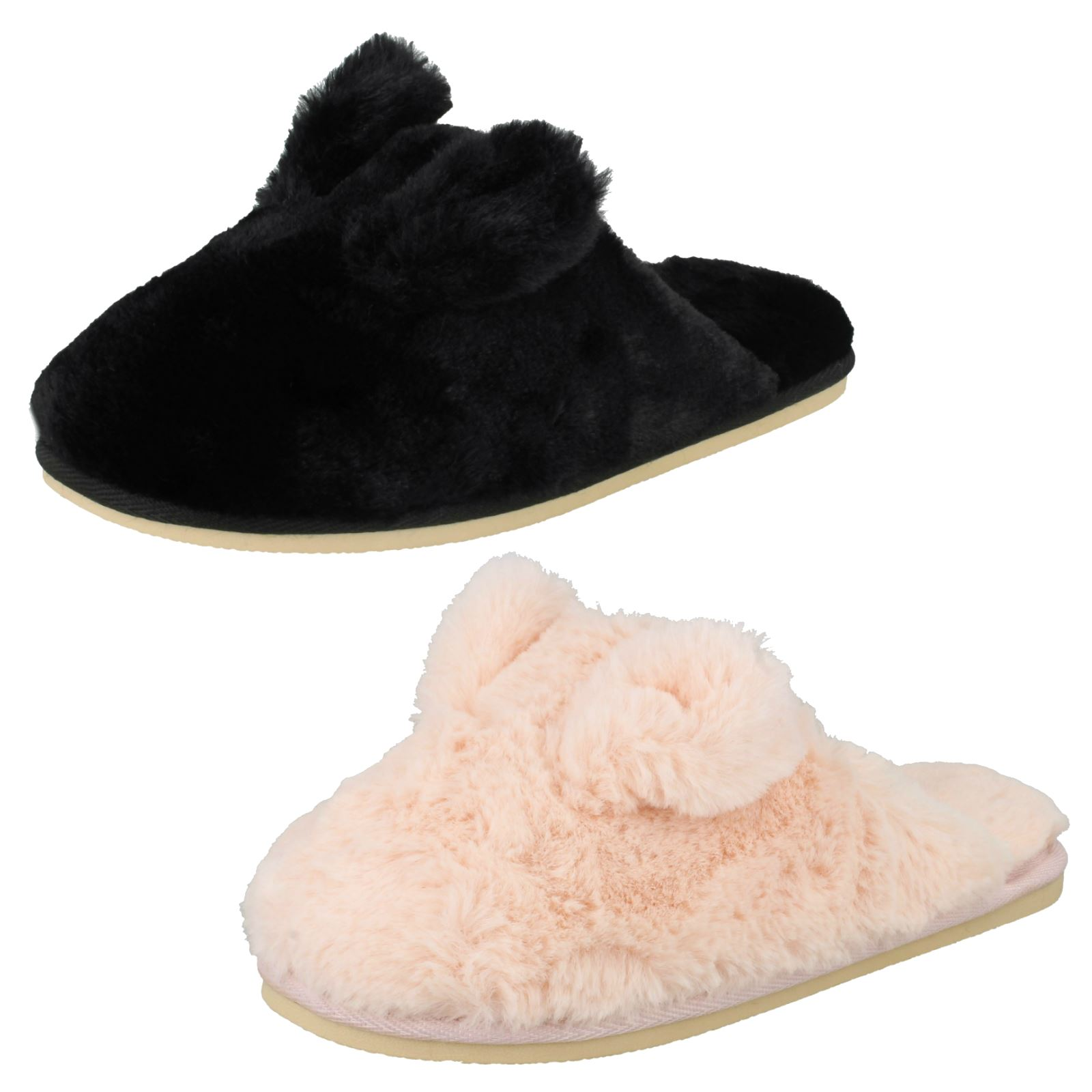 Ladies Four Seasons Bunny Ears Slip On Textile Slippers Patricia
