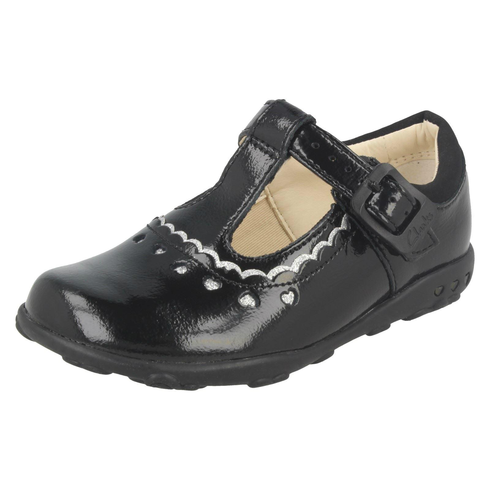 Clarks Primero Zapatos Ella Charol Negro T barras