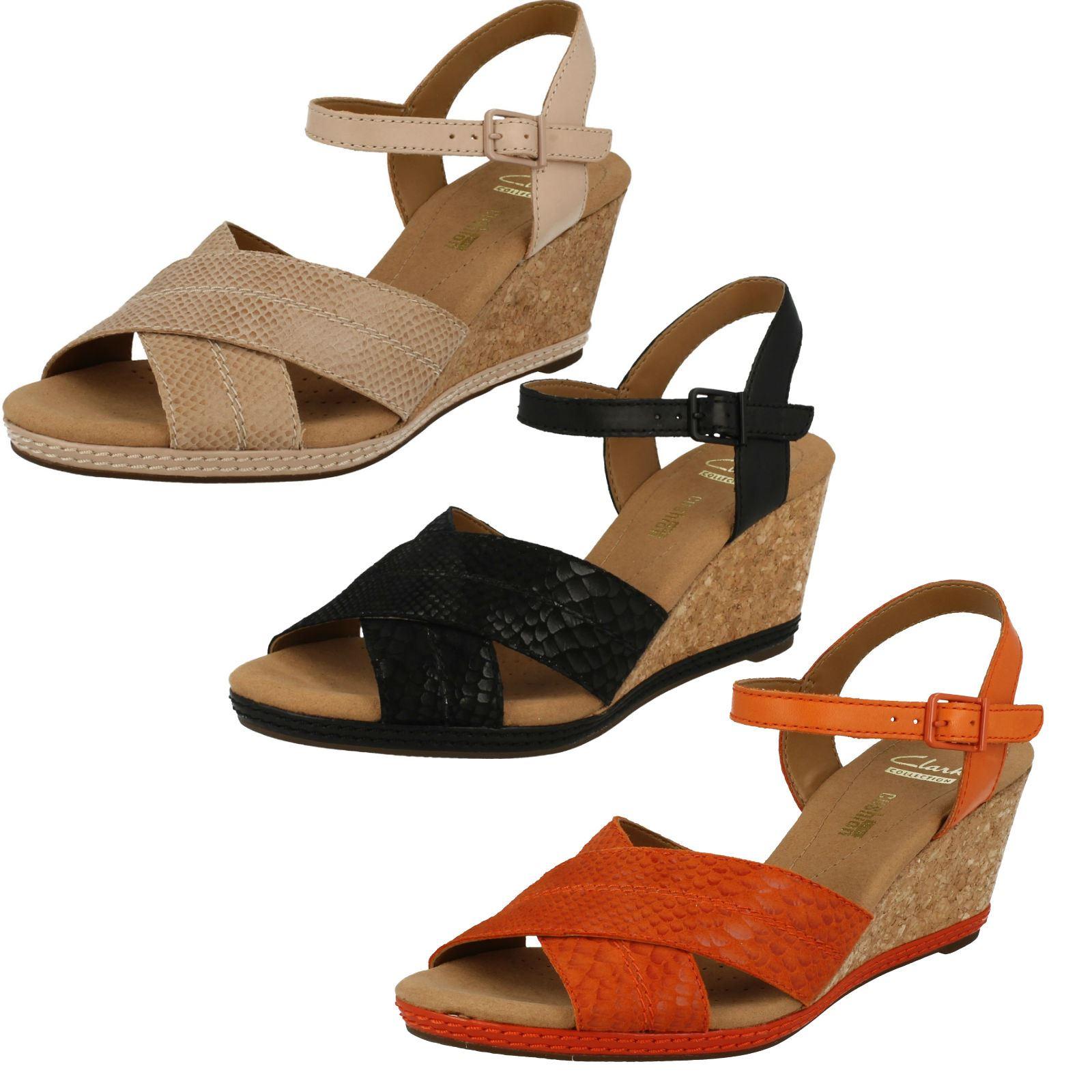 95466684686851 Ladies Clarks  Open Toe Wedge Sandals Helio Latitude