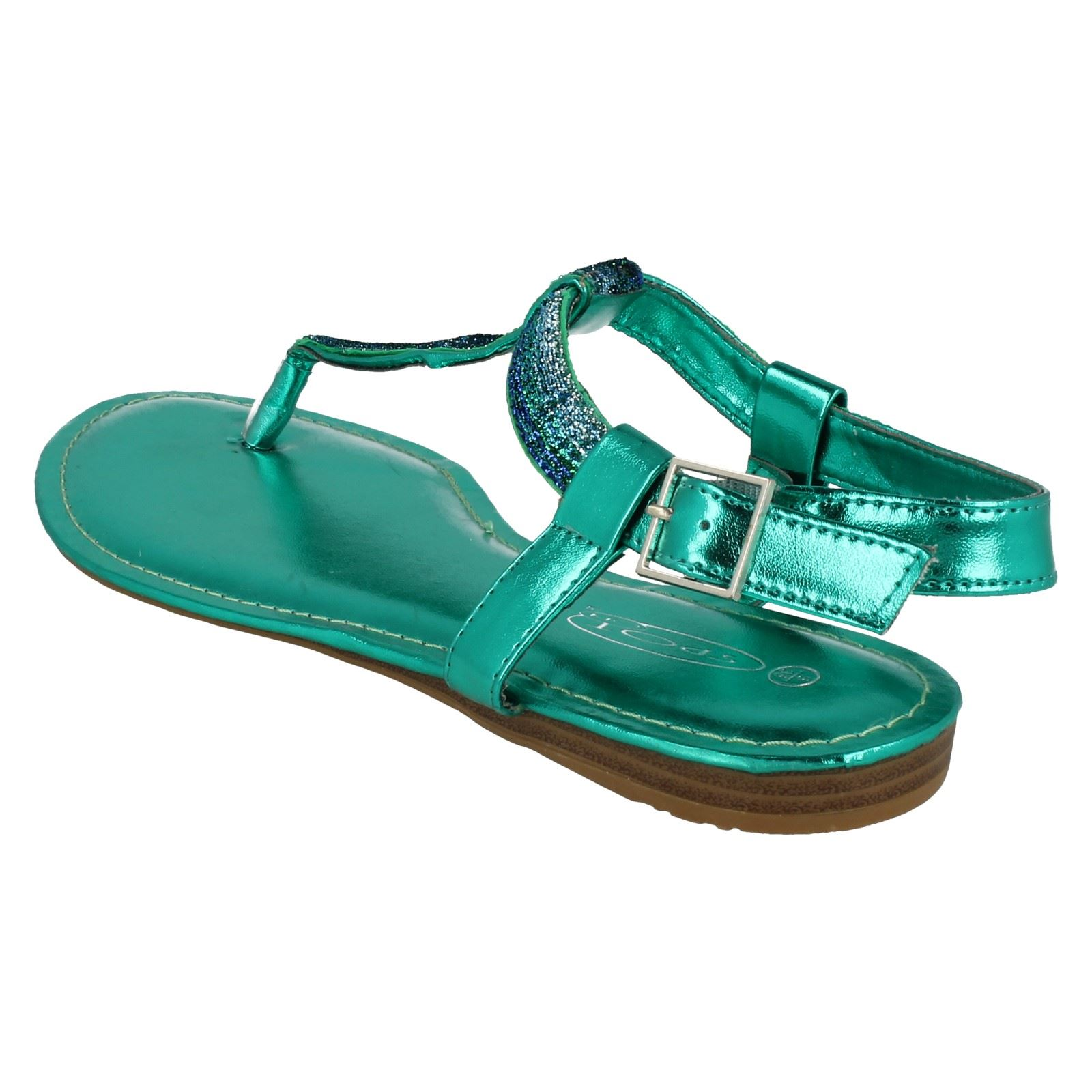 Damas Spot On Casual Flip Flop metálicos brillantes
