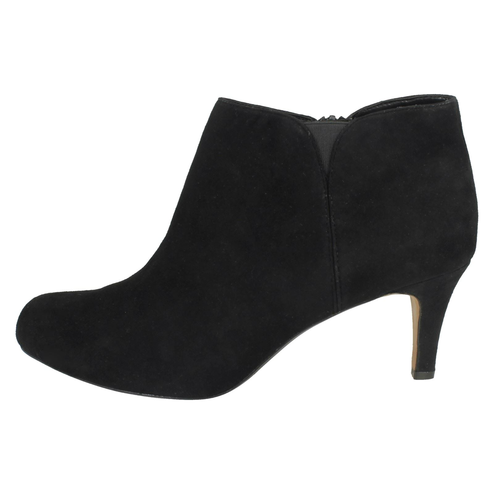 Ankle Clarks Heeled Arista Black Inside Paige Leather Cushioned Zip Boots Suede suede Ladies OnwH0qRH