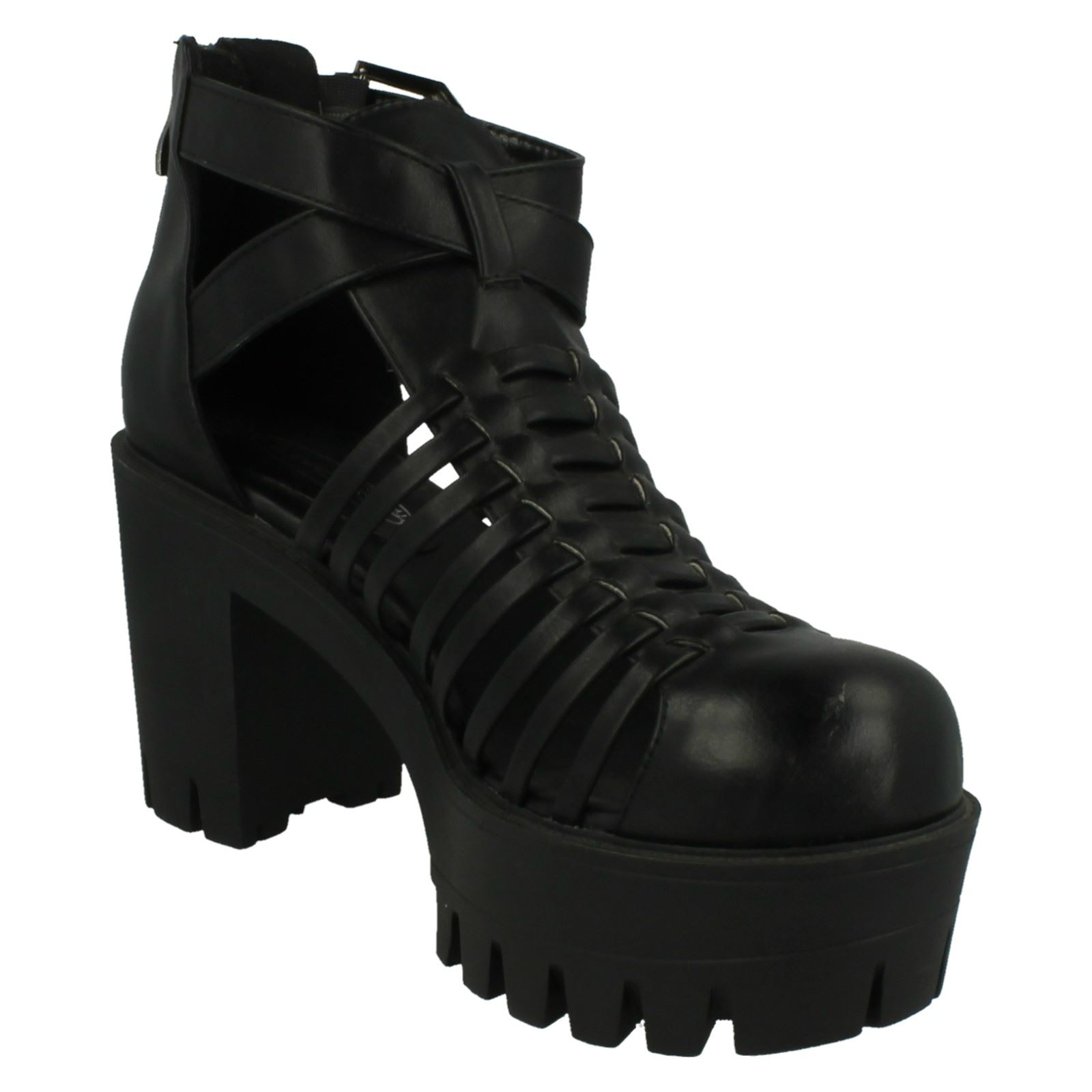 Zapatos señoras de punto en grueso talón