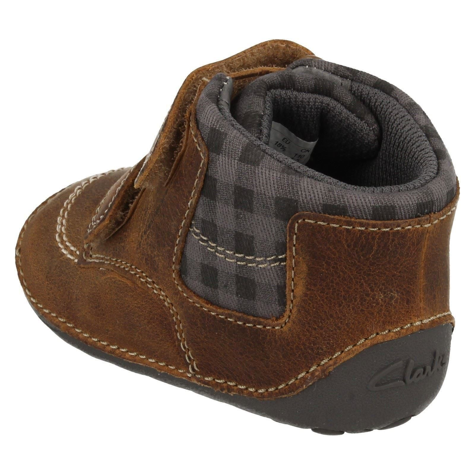Baby Infant Boys Clarks First Leather Cruiser Pre Walker Ankle Boots Tiny Jay