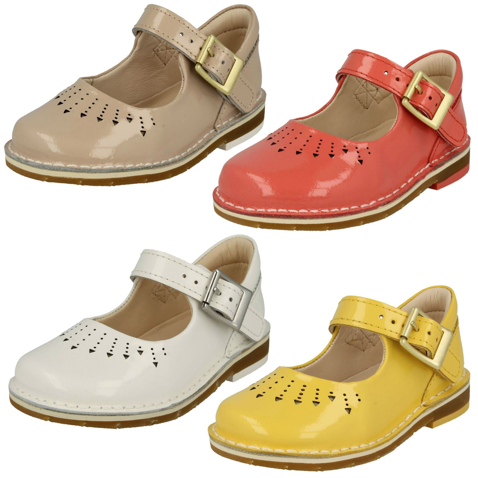 58b45539315b Clarks Infant Toddler Girls Buckle Mary Jane Patent Leather First Shoe Yarn  Jump