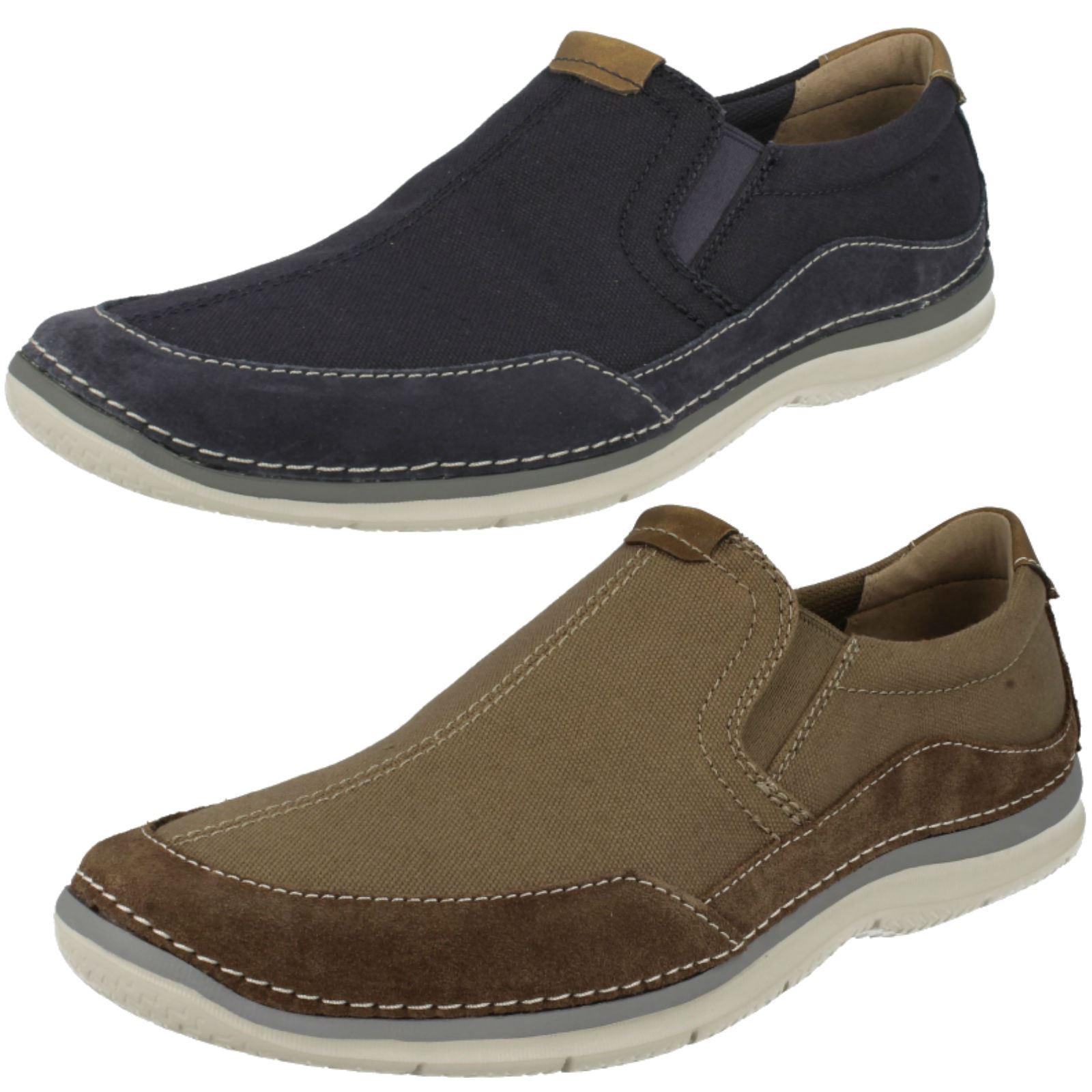 verde cuero On Free Clarks casual Olive Canvas zapatos hombre Slip de de Clarks Ripton para xgxZqw6