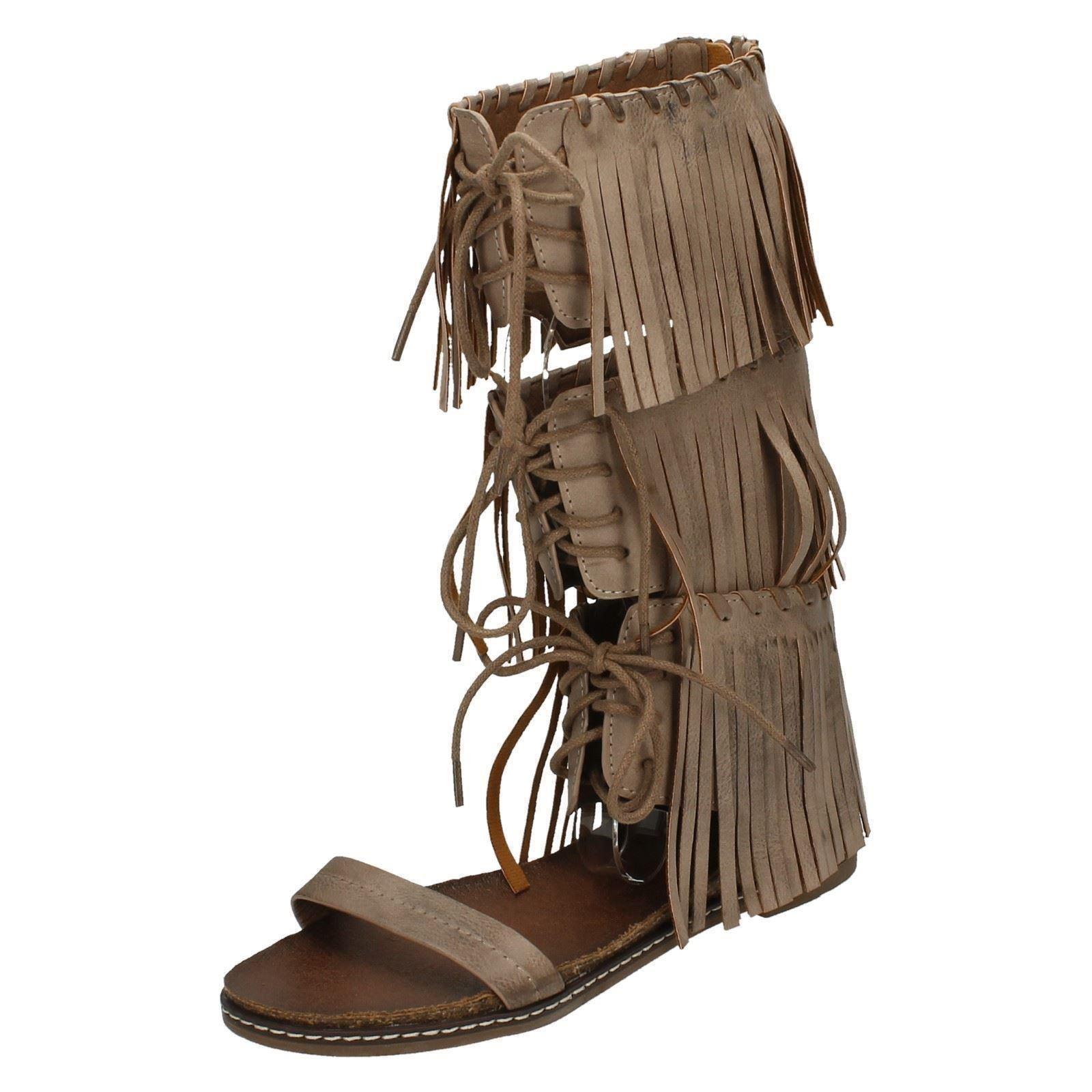 Damas Savannah Baja Sandalia de cuña de la pierna con flecos de Encaje F0978