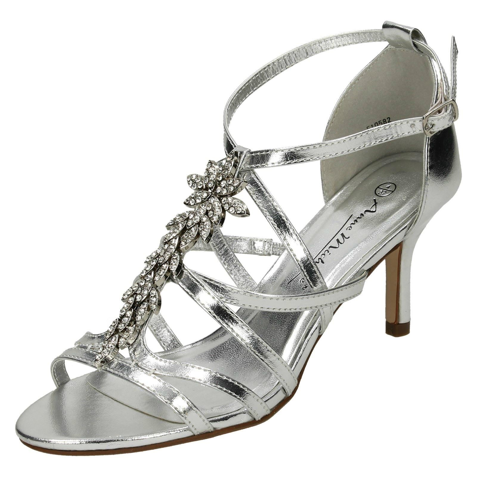 0cef9a2e3de Ladies Anne Michelle Mid Heel Strappy Sandals F10582 Silver UK 8 Standard.  About this product. Picture 1 of 10  Picture 2 of 10 ...