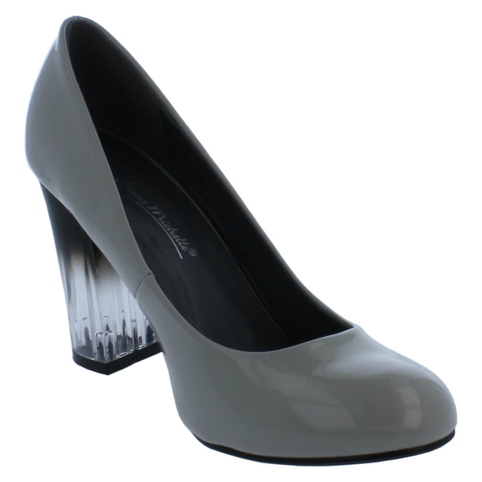 Damas Anne Michelle Claro Bloque Talón Tribunal Zapatos F9921