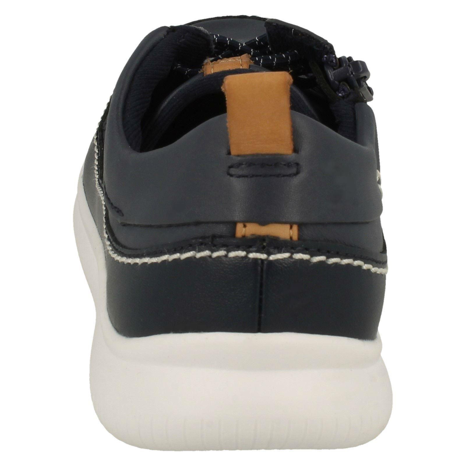 Cloud Chicos Elasticated Lace Clarks Zip Casual azul Detallado Up Zapatos Navy Leather Blaze qzqBO