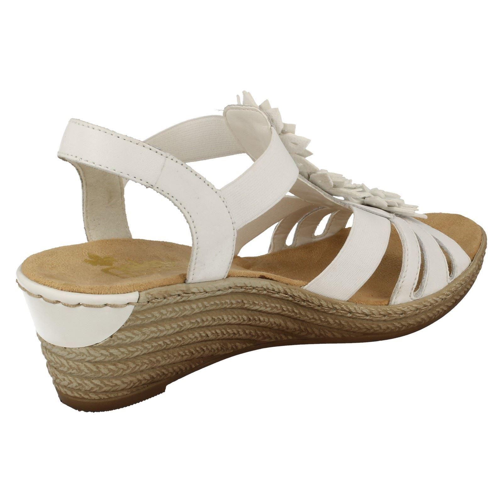 Último gran descuento Ladies Rieker Flower Detail Wedge Sandals '62461'