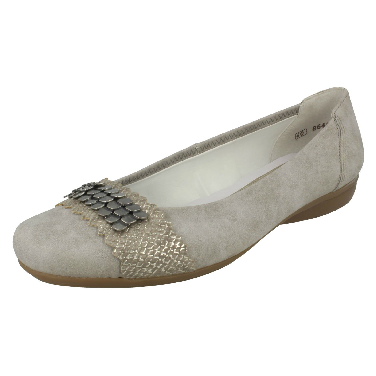 L8360 Toe piatto grigio Ladies sintetiche Rieker scarpe On Rounded casual Slip xPqzfqE1w