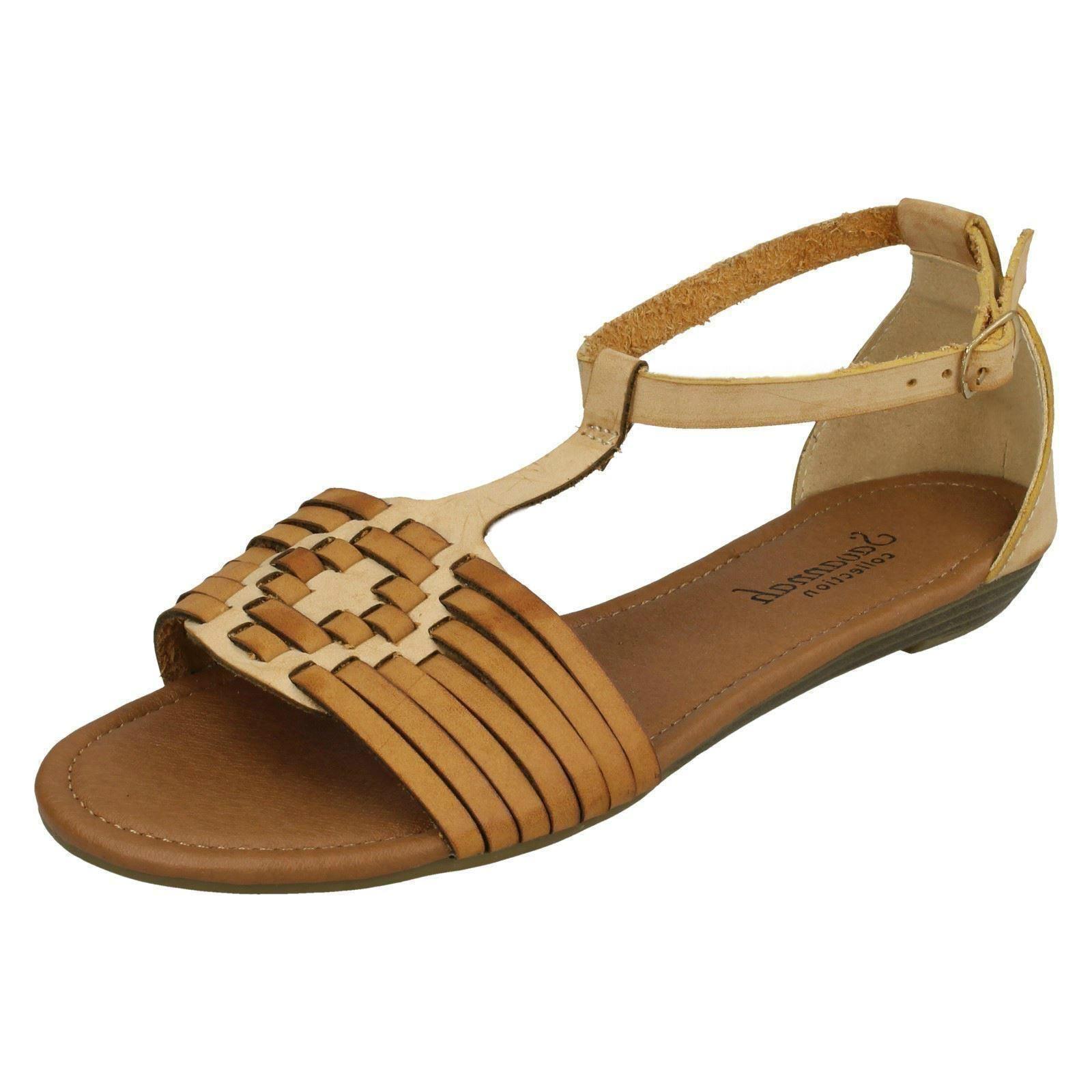 0545ba8aea3df Ladies Savannah Synthetic Ankle Strap T-bar Weave Sandals Brown (tan ...