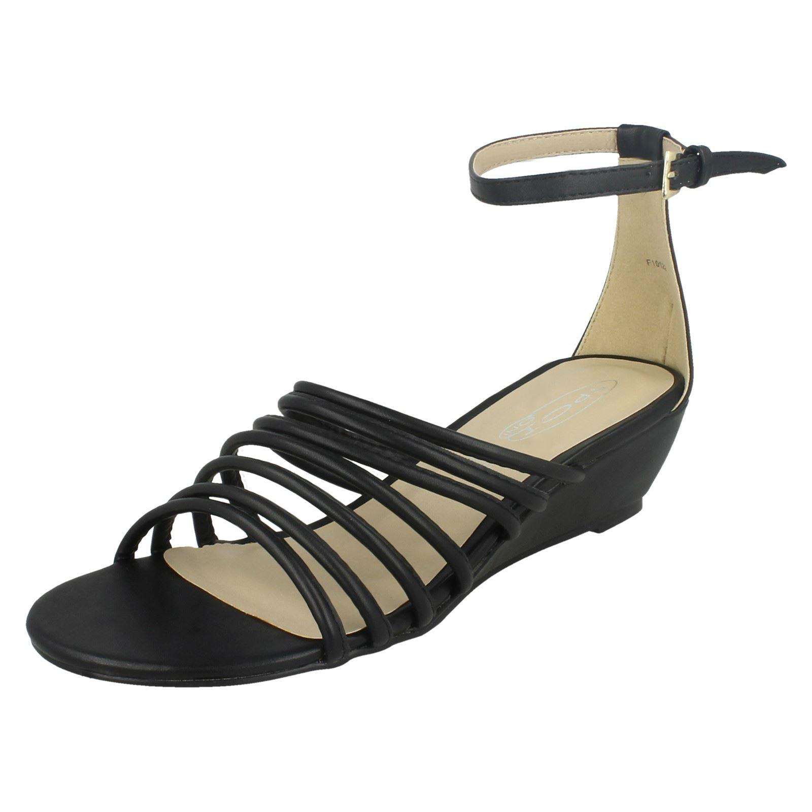 Donna Spot On mezza zeppa con spalline Sandali cinturino alla caviglia 'f1r0122'