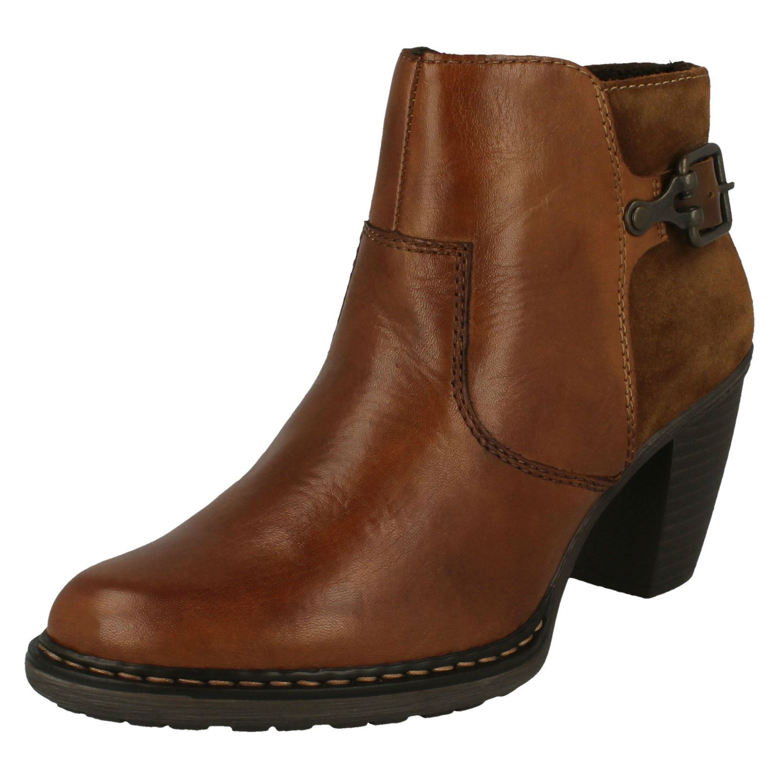 Brown Ladies Ankle Casual 55292 Detail Smart Buckle Heeled Zip Rieker Leather Boots PCPwqa