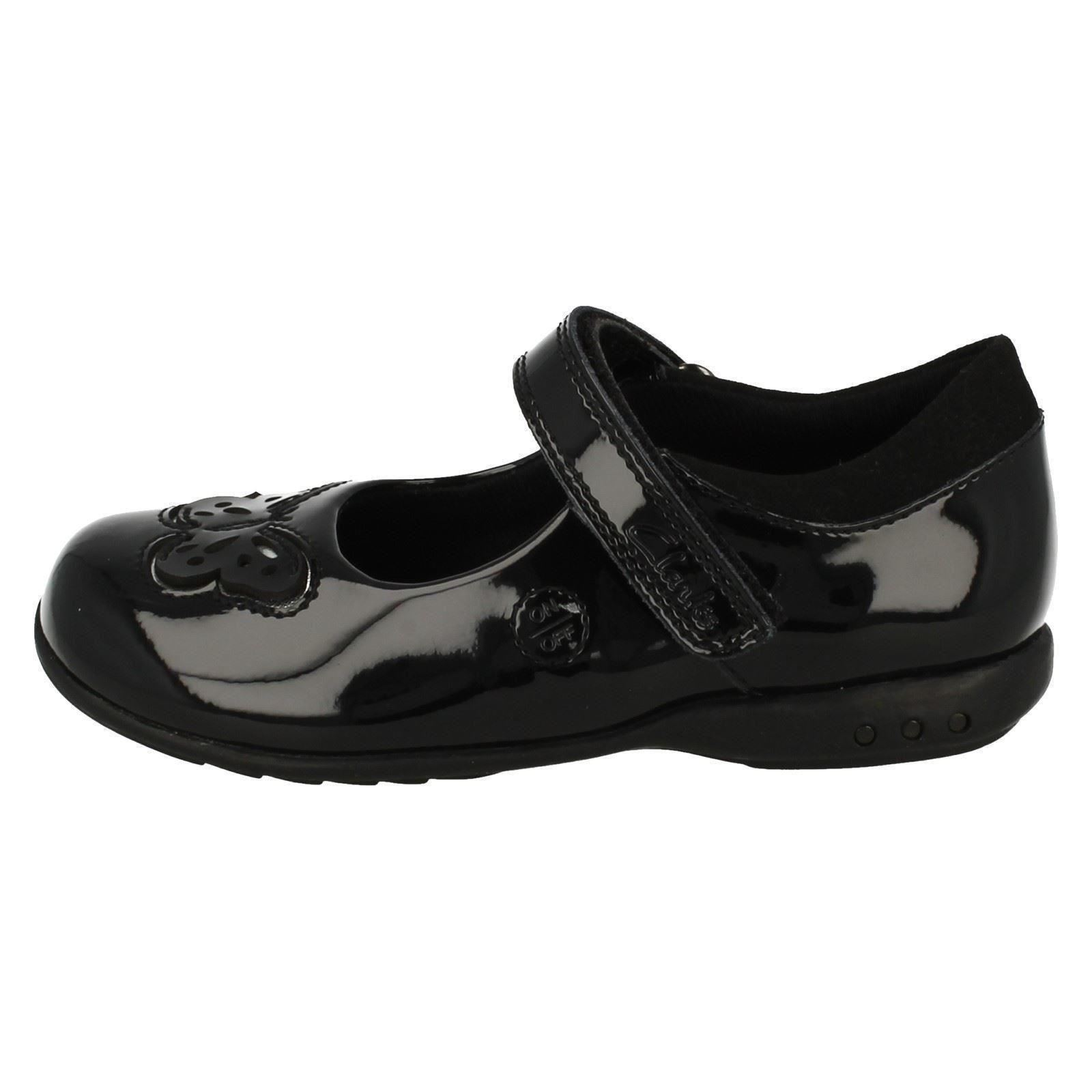 Trixi Rose G /& H Fitting Girls Clarks Black Leather Light Up School Shoes F
