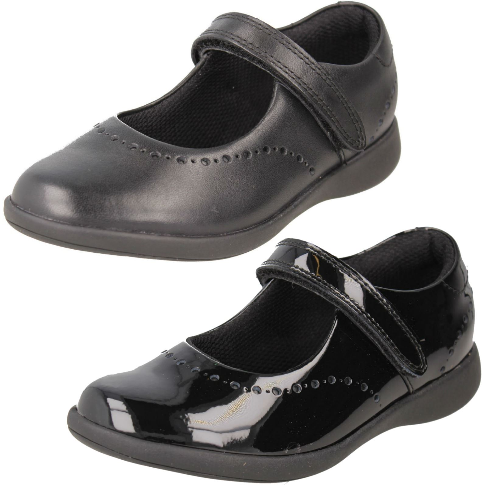 Clarks Girls Dolly Shy Black Leather School Shoes SIZE 12.5G