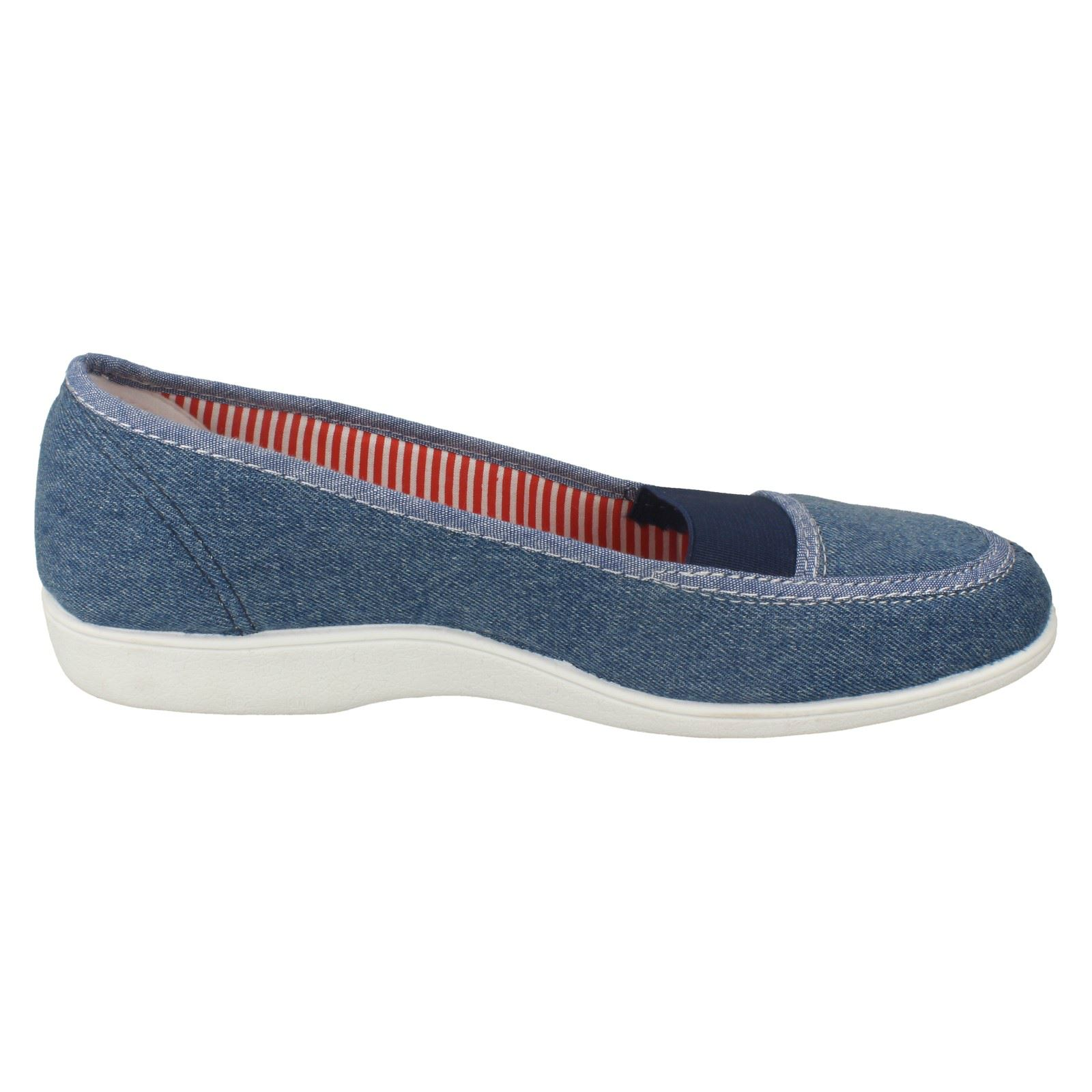 Free Step /'Patch/' Ladies Blue Slip On Canvas Shoes UK Sizes 4-7 R1A