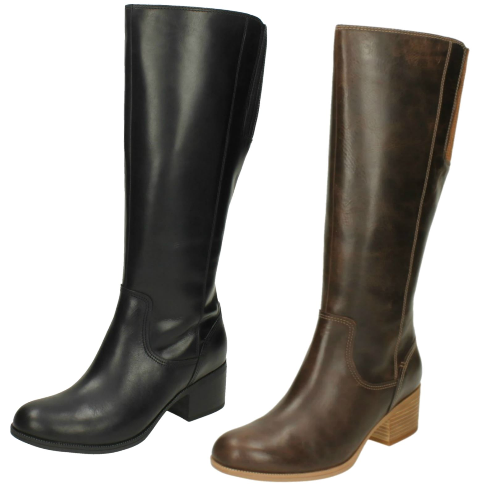 1e73d5b0df0 Details about Ladies Clarks Casual Knee Length Heeled Zip Up Leather Boots  Maypearl Viola