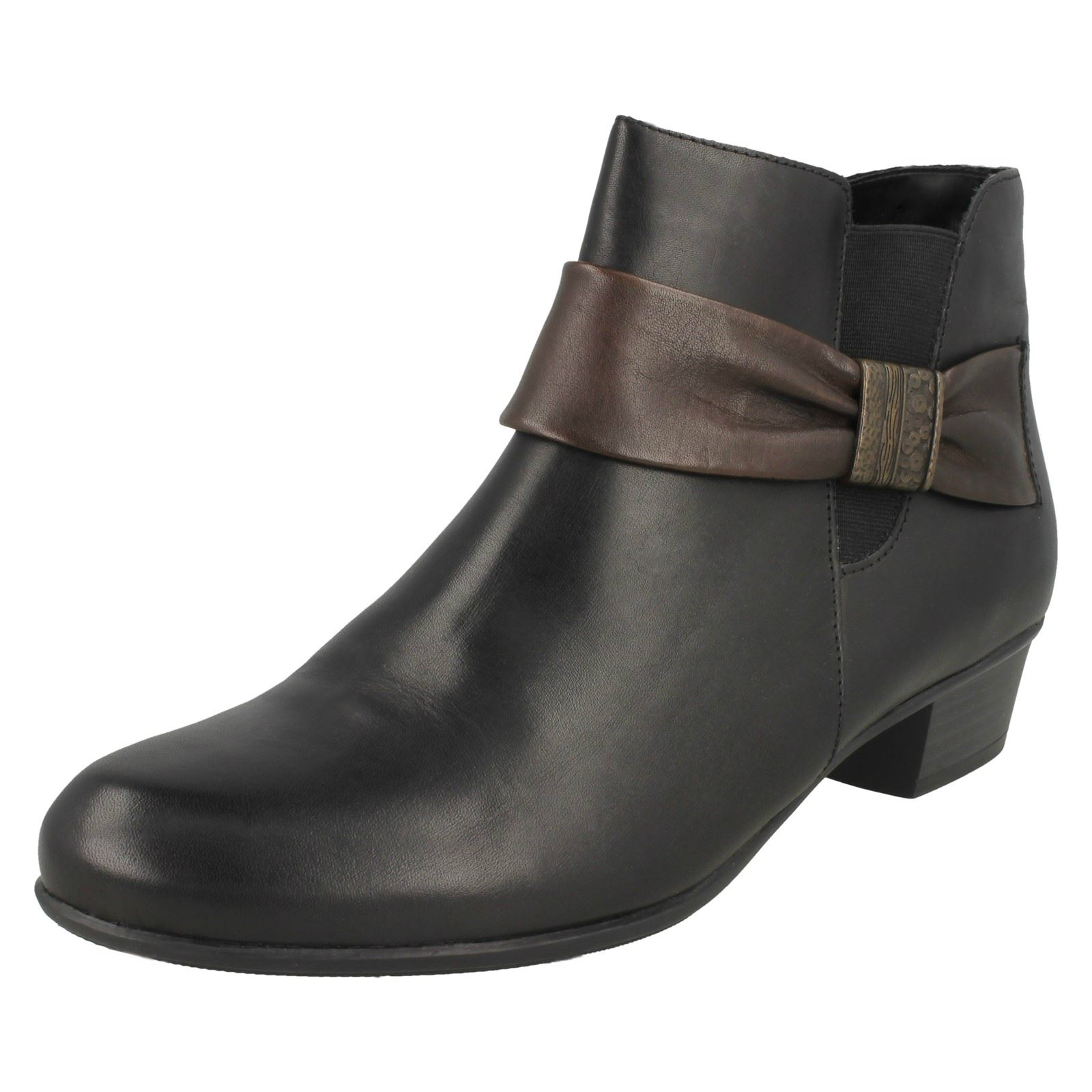 Zapatos especiales con descuento Ladies Remonte Leather Bow Detail Low Heel Ankle Boots - D6571