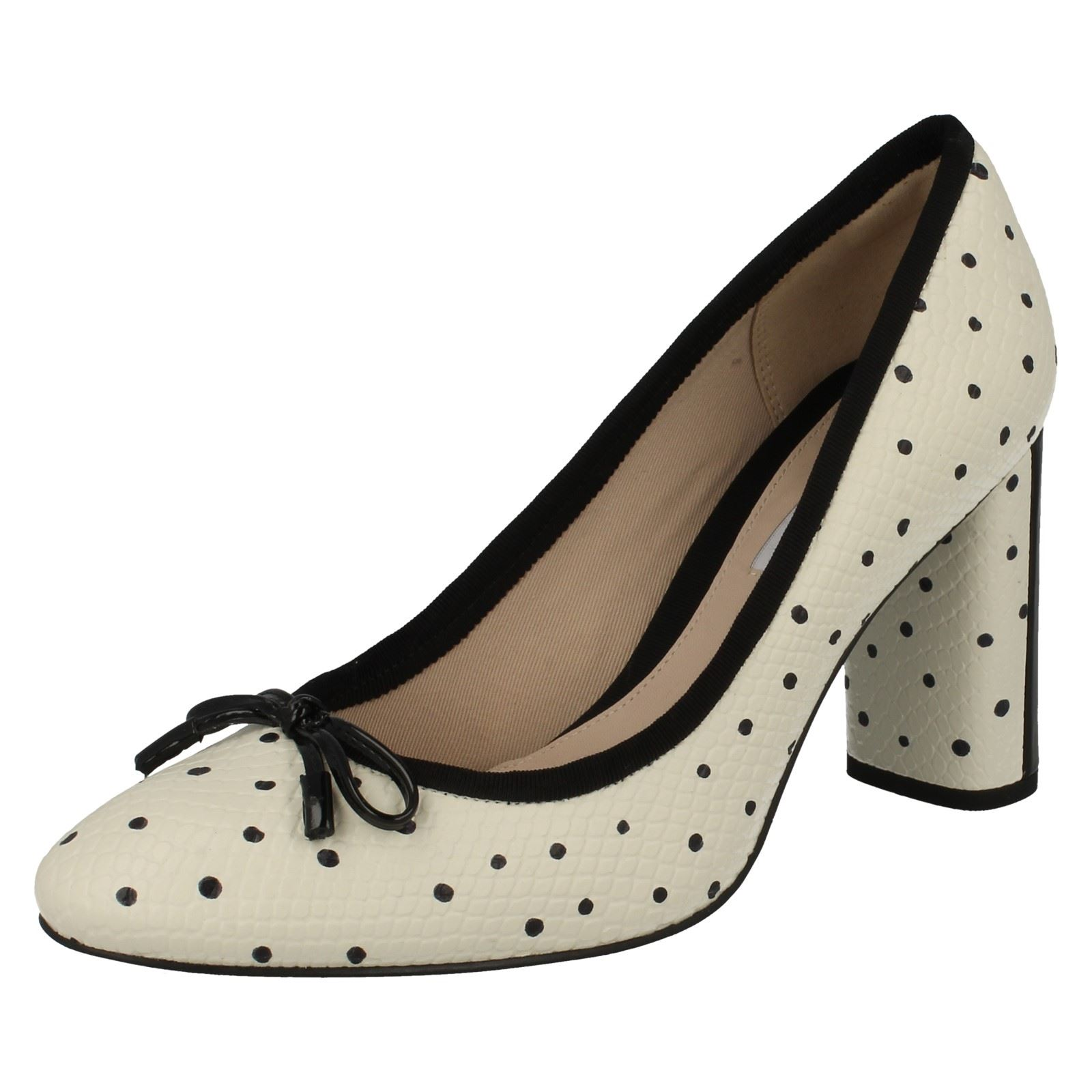 alto Idamarie mujer Faye Calzado Clarks tacón blanco blanco de para negro FHEqC