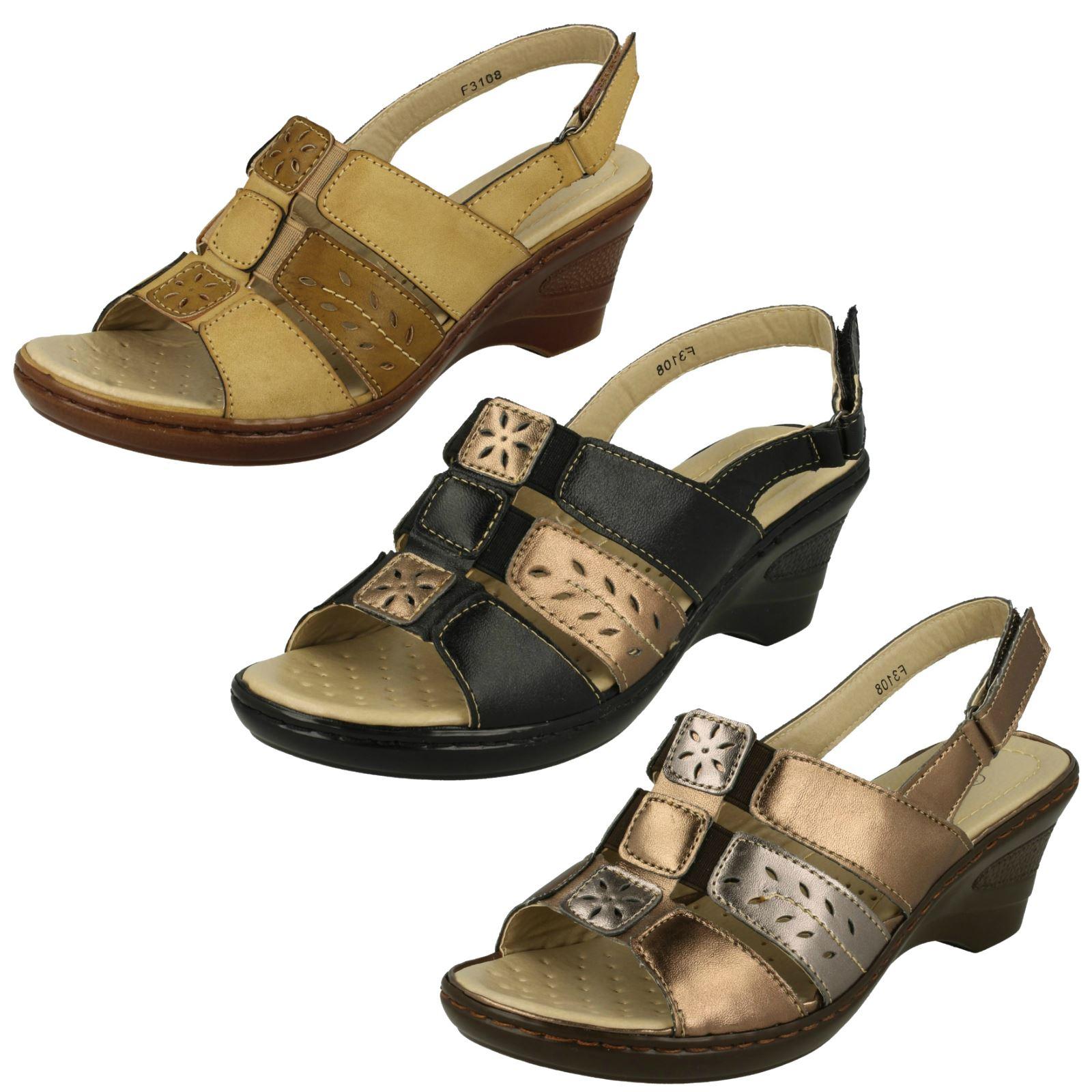 Ladies EAZE Casual Cinturino Sandali con Tacco