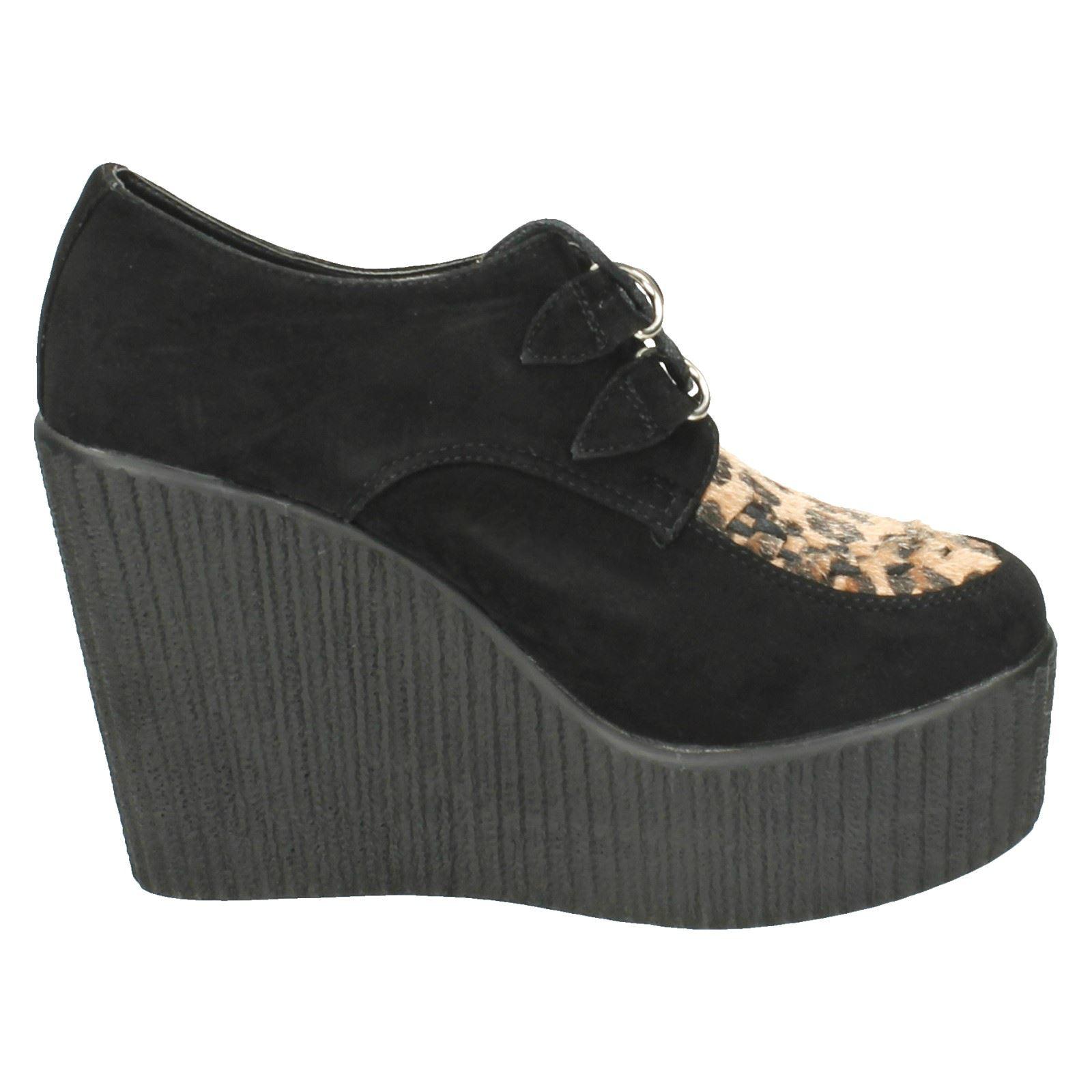 Damas Informal Con Cordones Cuñas Alta Zapatos Plataforma mancha en