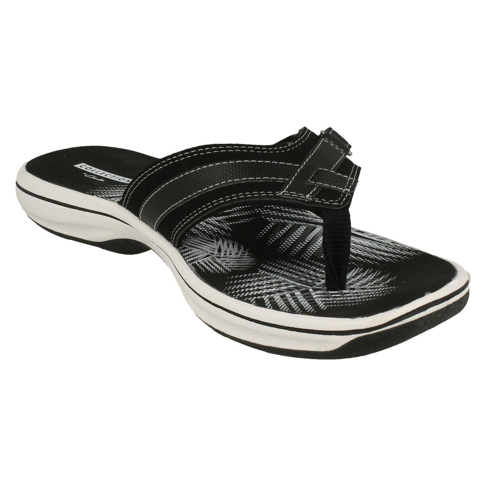 464054def16 Ladies Clarks Toe Post Sandals Flip Flops  Brinkley Sea