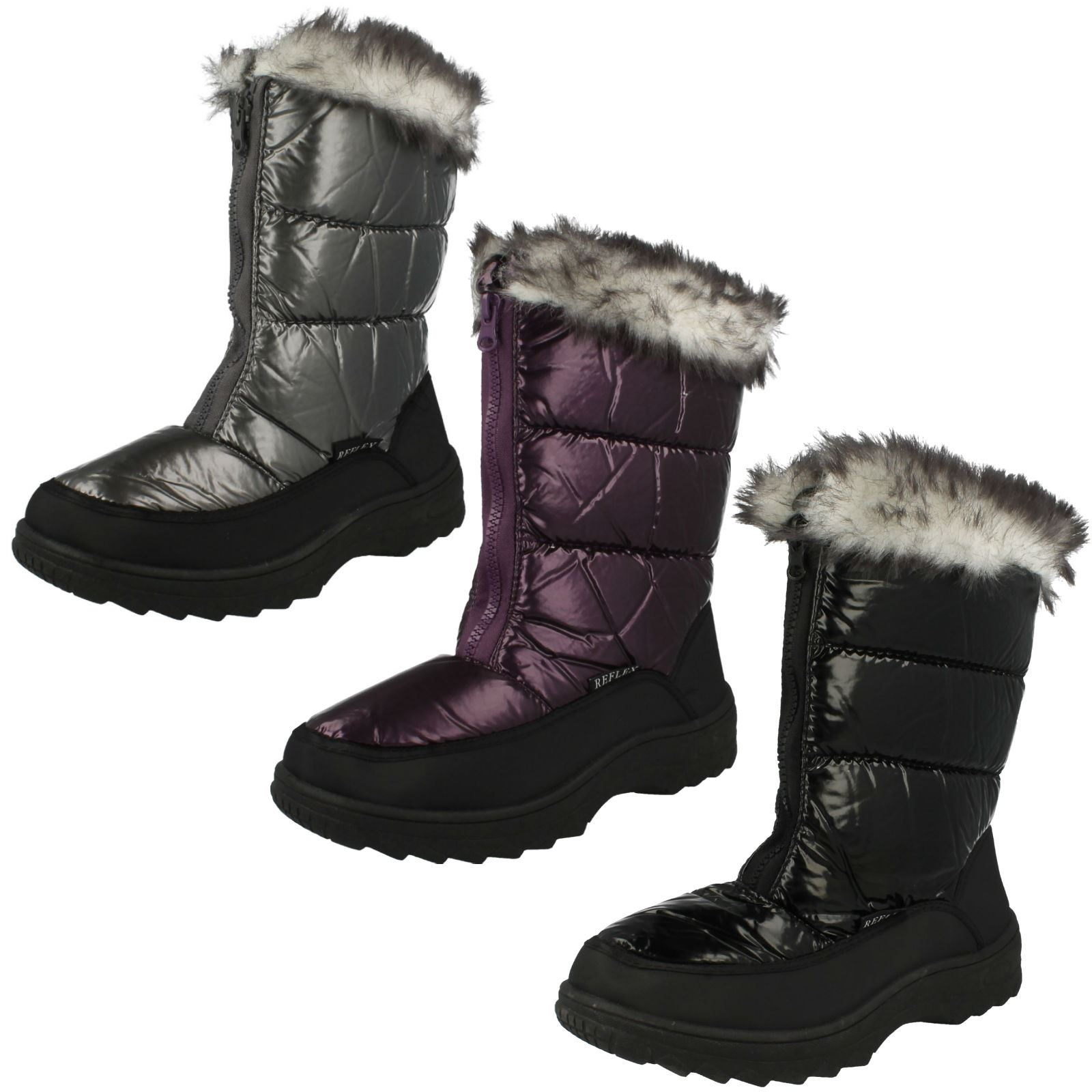 Ladies Fur Topped Snow Boots Reflex for