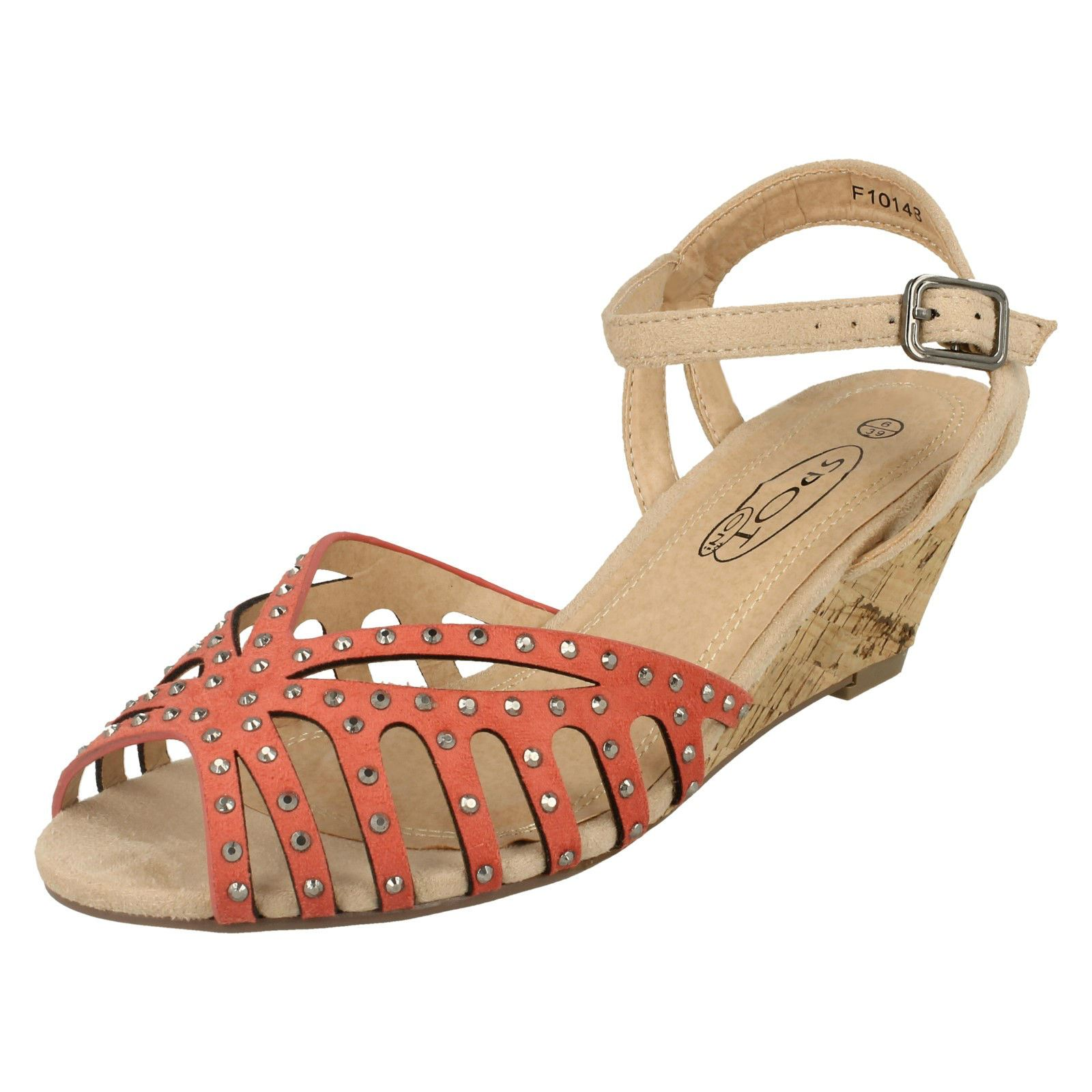 Spot On Donna F10148 Coral Wedge Sandal Numero eu 36 x 8 R1A