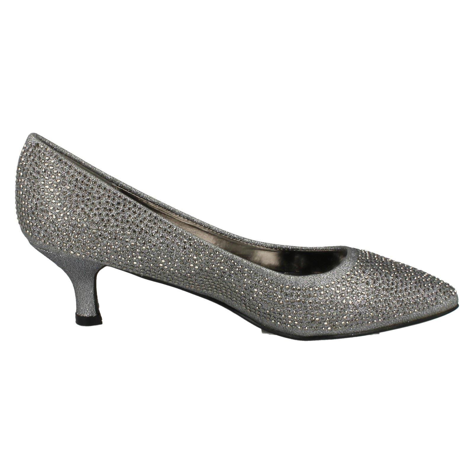Ladies-Anne-Michelle-Diamante-Low-Heel-Court-Shoes thumbnail 26
