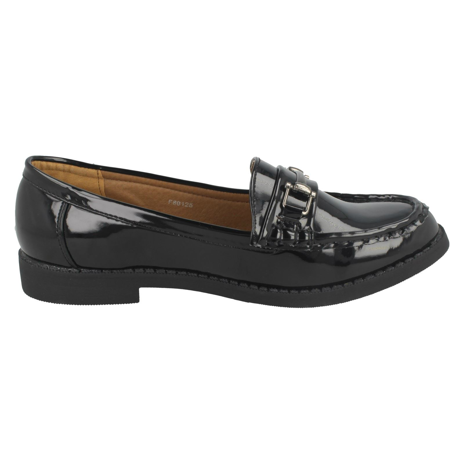 SALE Ladies spot on  slip on Black patent loafers shoes F80122