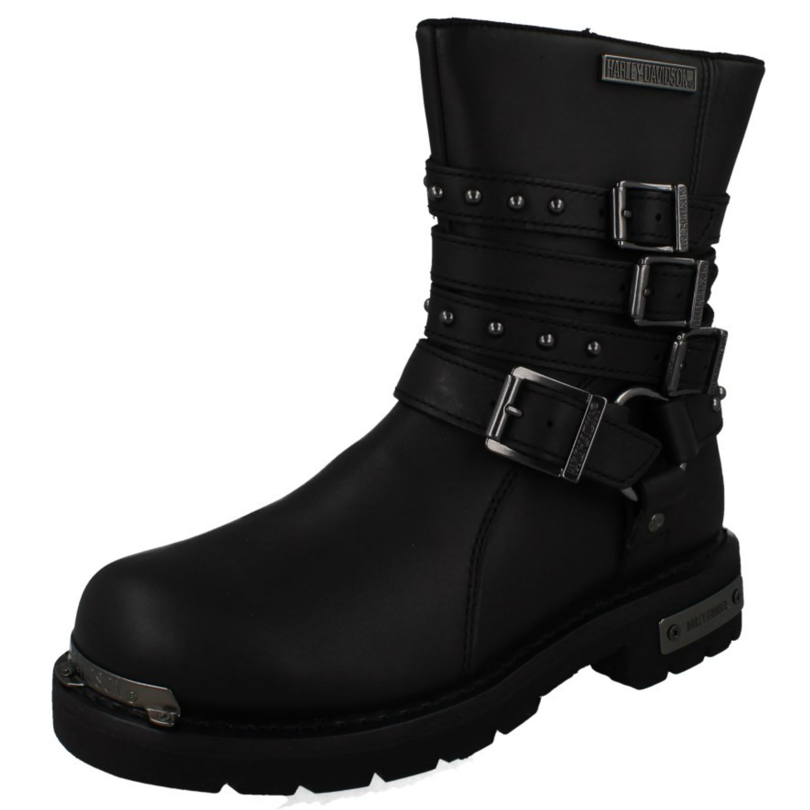 R99 Harley Davidson Baisley Ladies Black Biker Boots wide Fitting