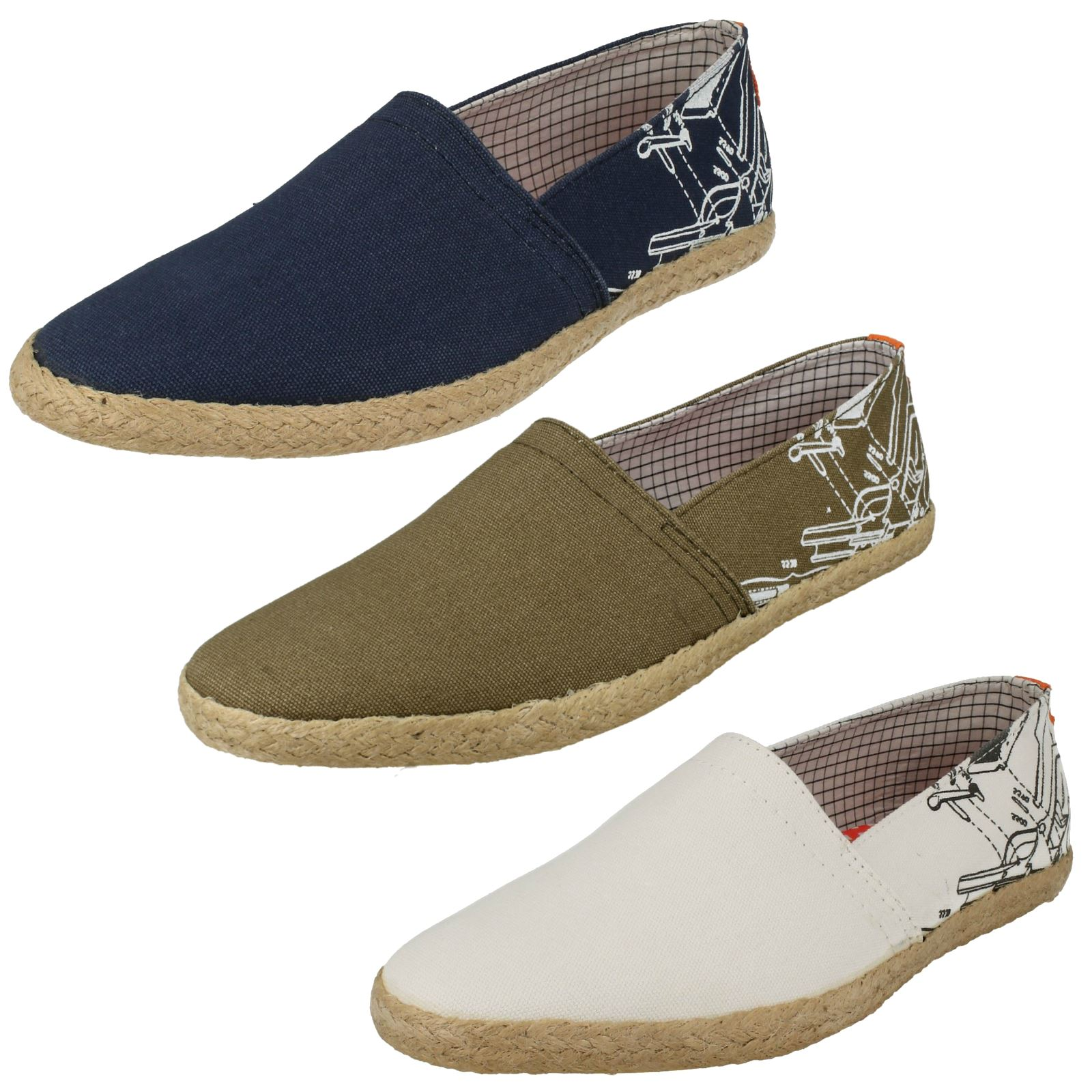 49588c83813f Details about Mens Base London Slip On Rounded Toe Casual Textile Canvas  Shoes Pineapple