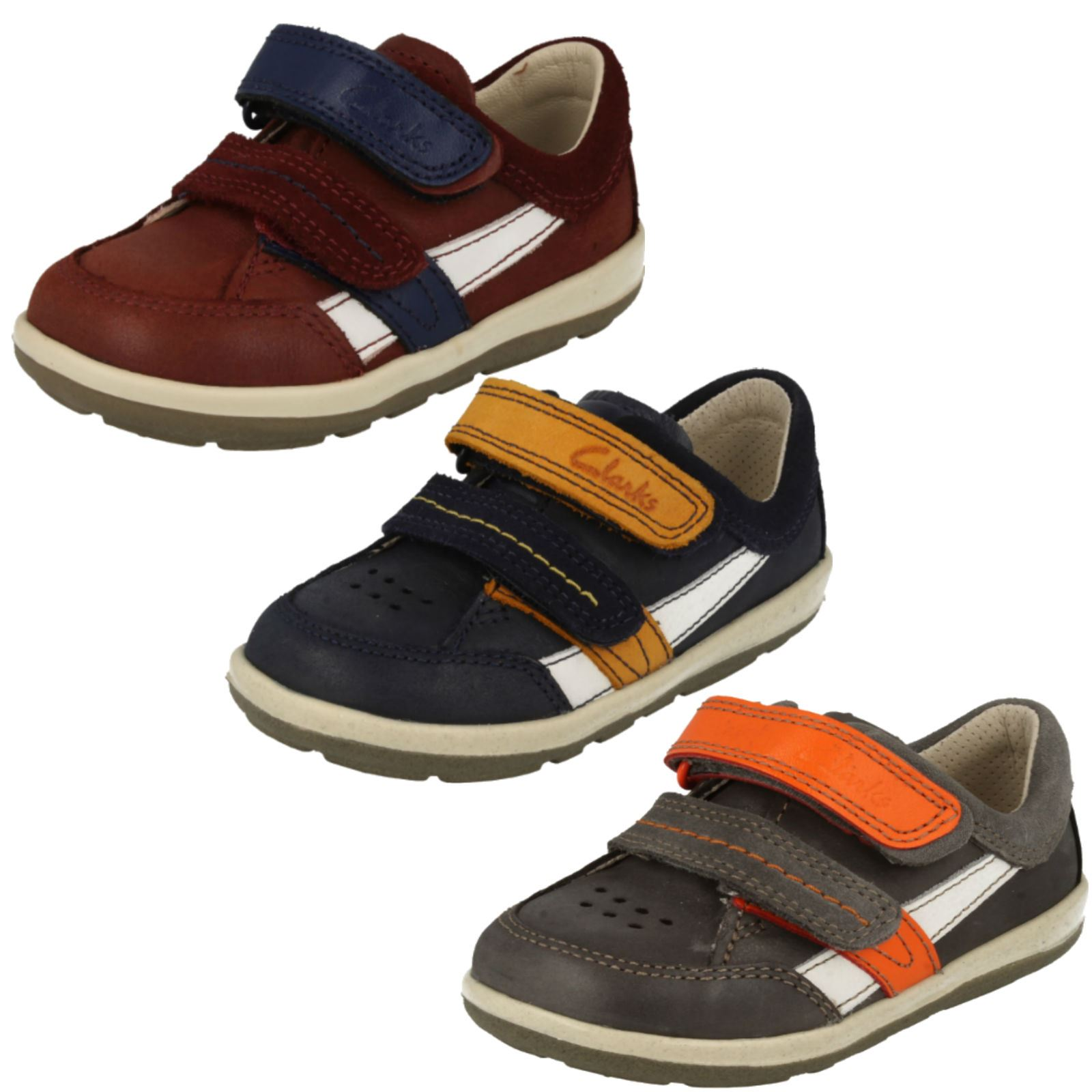 Boys Clarks Softly Zakk Fst Leather First Shoes F /& G Fittings