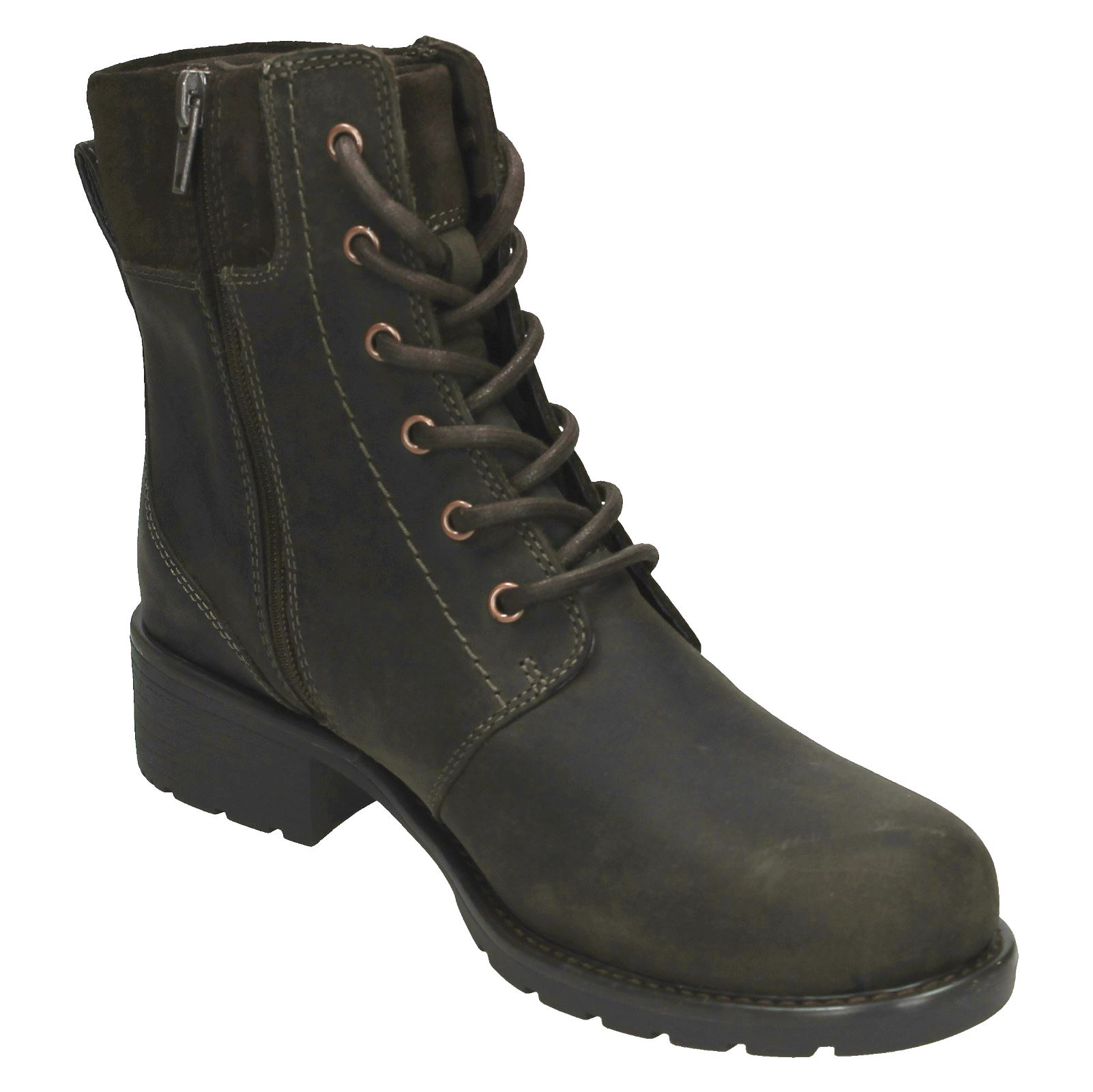 Ladies-Clarks-Casual-Lace-Up-Inside-Zip-Nubuck-Leather-Ankle-Boots-Orinoco-Spice thumbnail 35