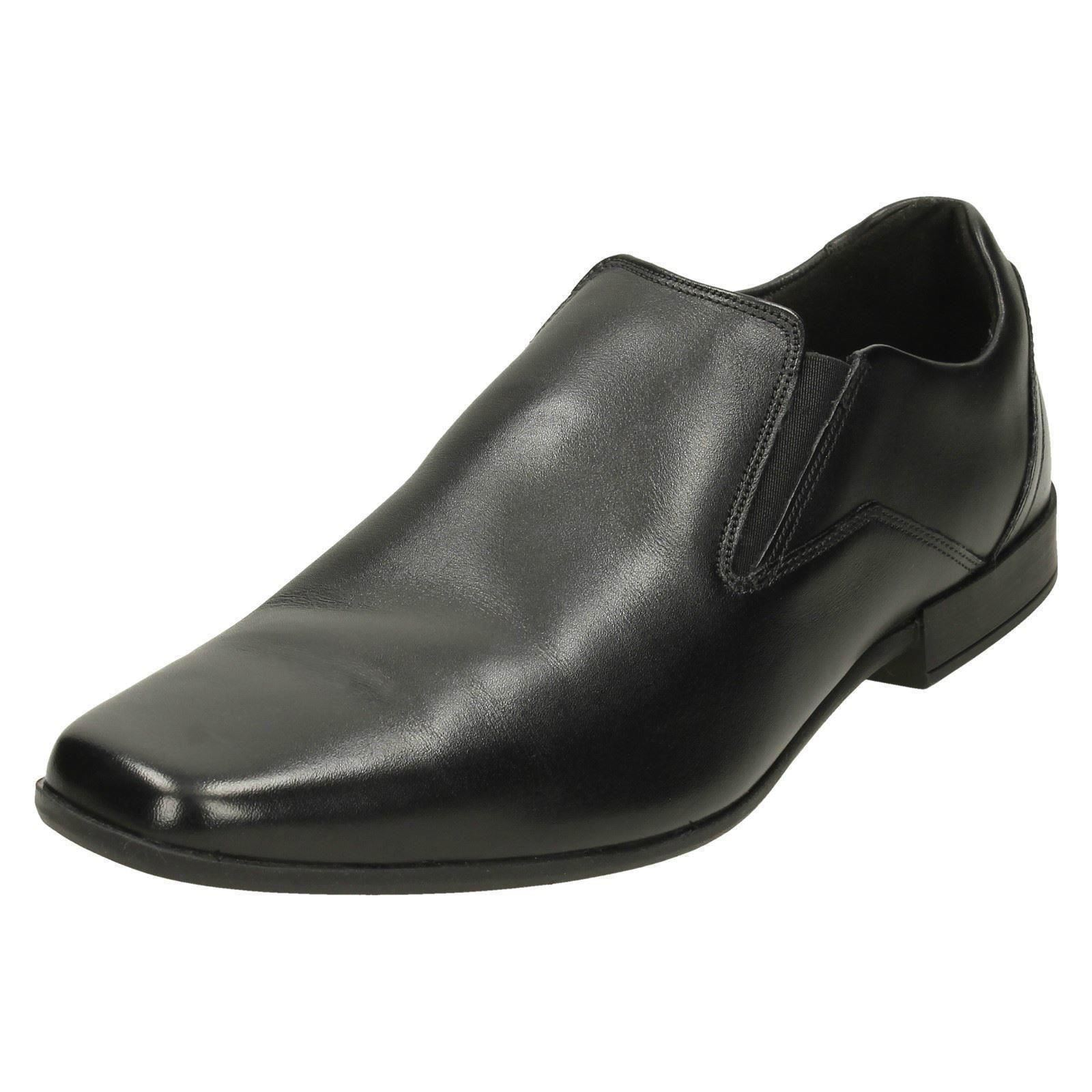 Mens-Clarks-Formal-Squared-Toe-Slip-On-Leather-Shoes-Glement-Slip