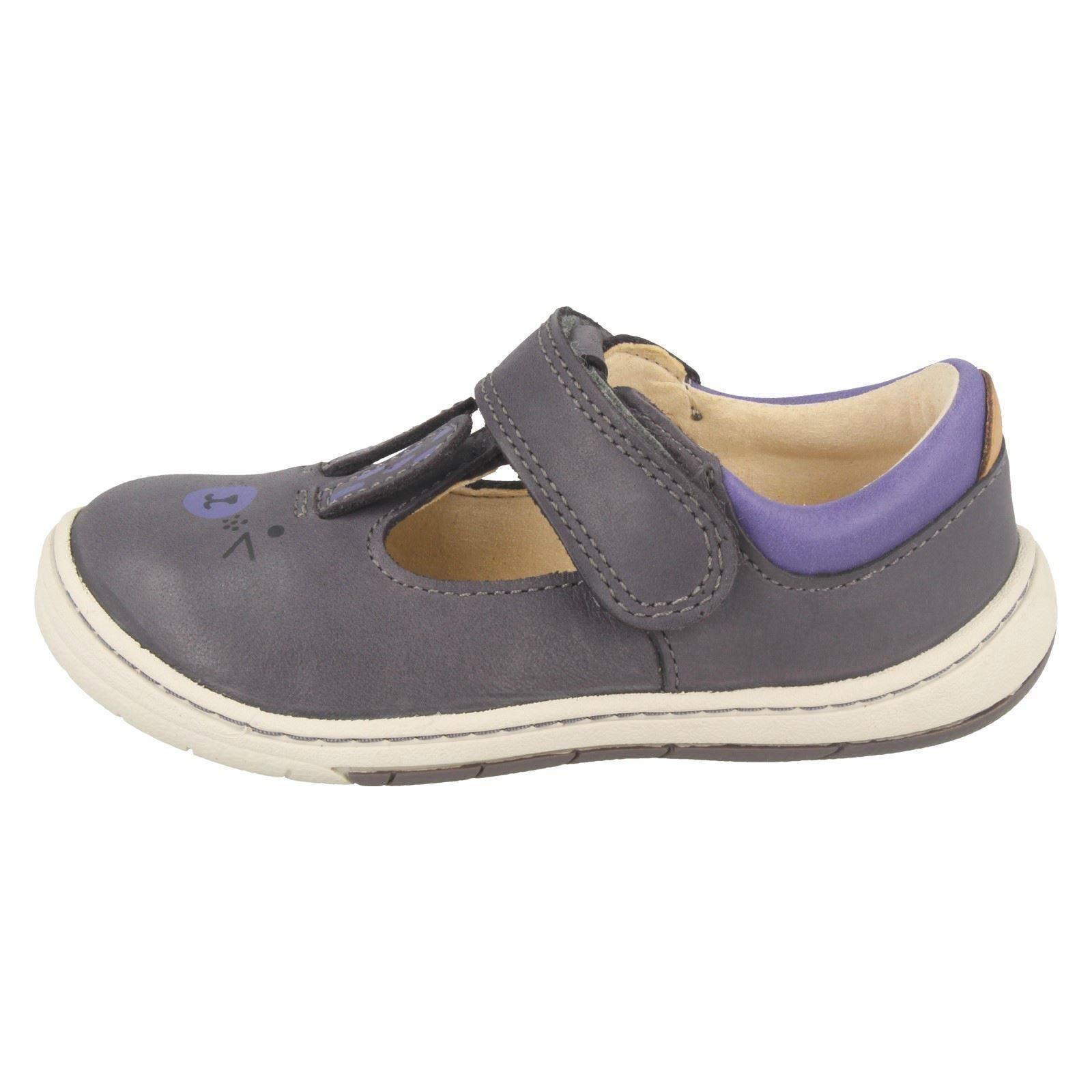 Infantil Chicas Clarks Zapatos Puntera De redondeado con diseño de conejo primero-Amelio Glo