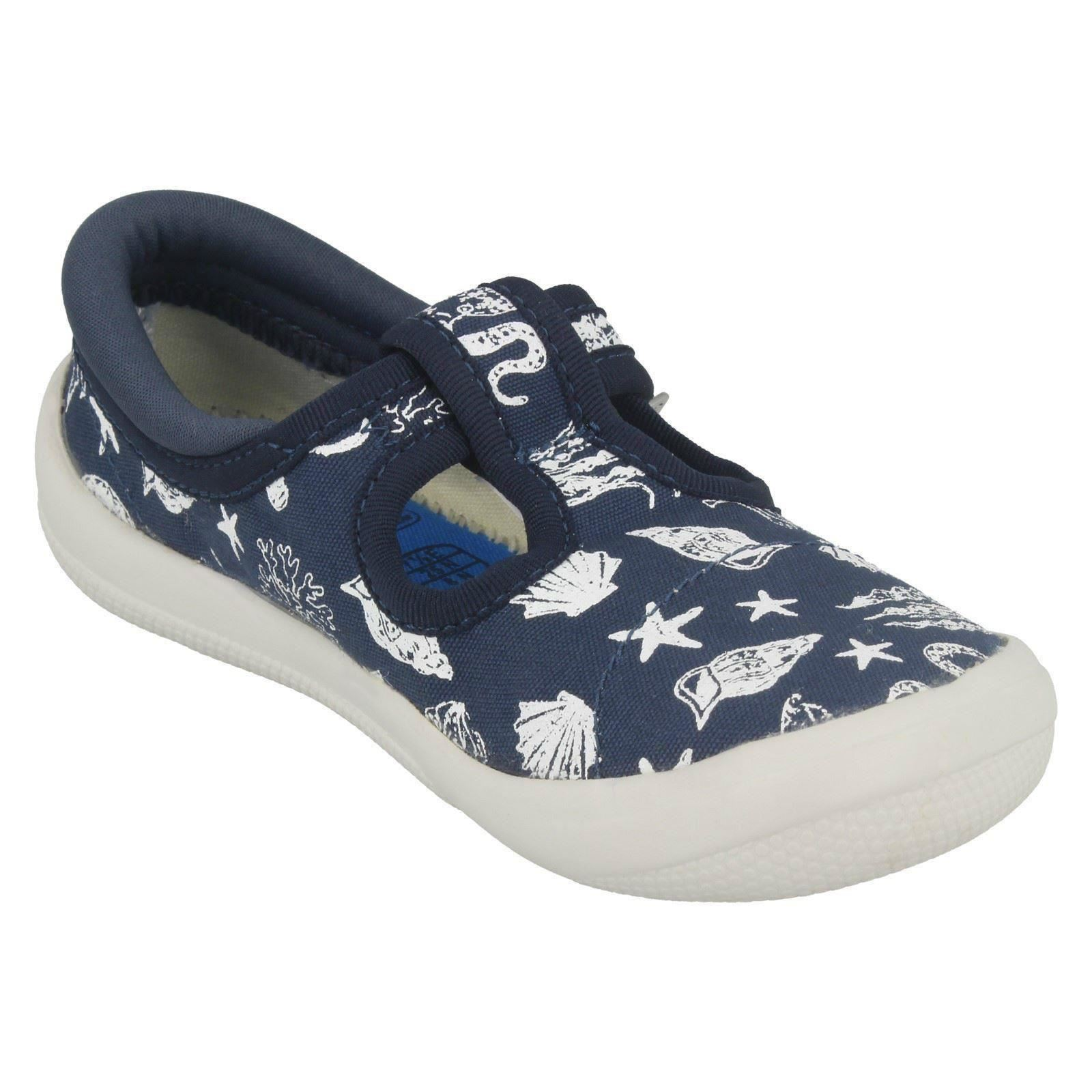 BOYS CLARKS BRILEY SKY MONKEY BEACH THEME CASUAL CANVAS SHOES DOODLES PUMPS SIZE