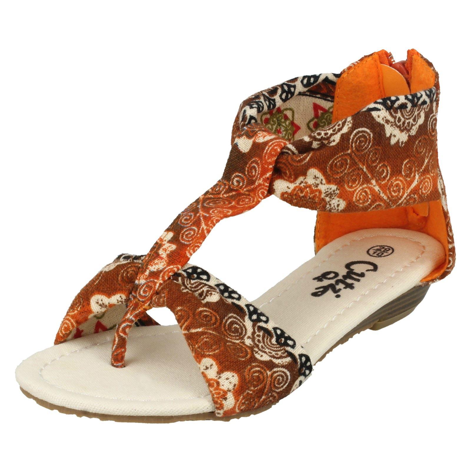 Chicas Cutie Pequeño Cuña Toe Post Sandalias de barra en T H0108