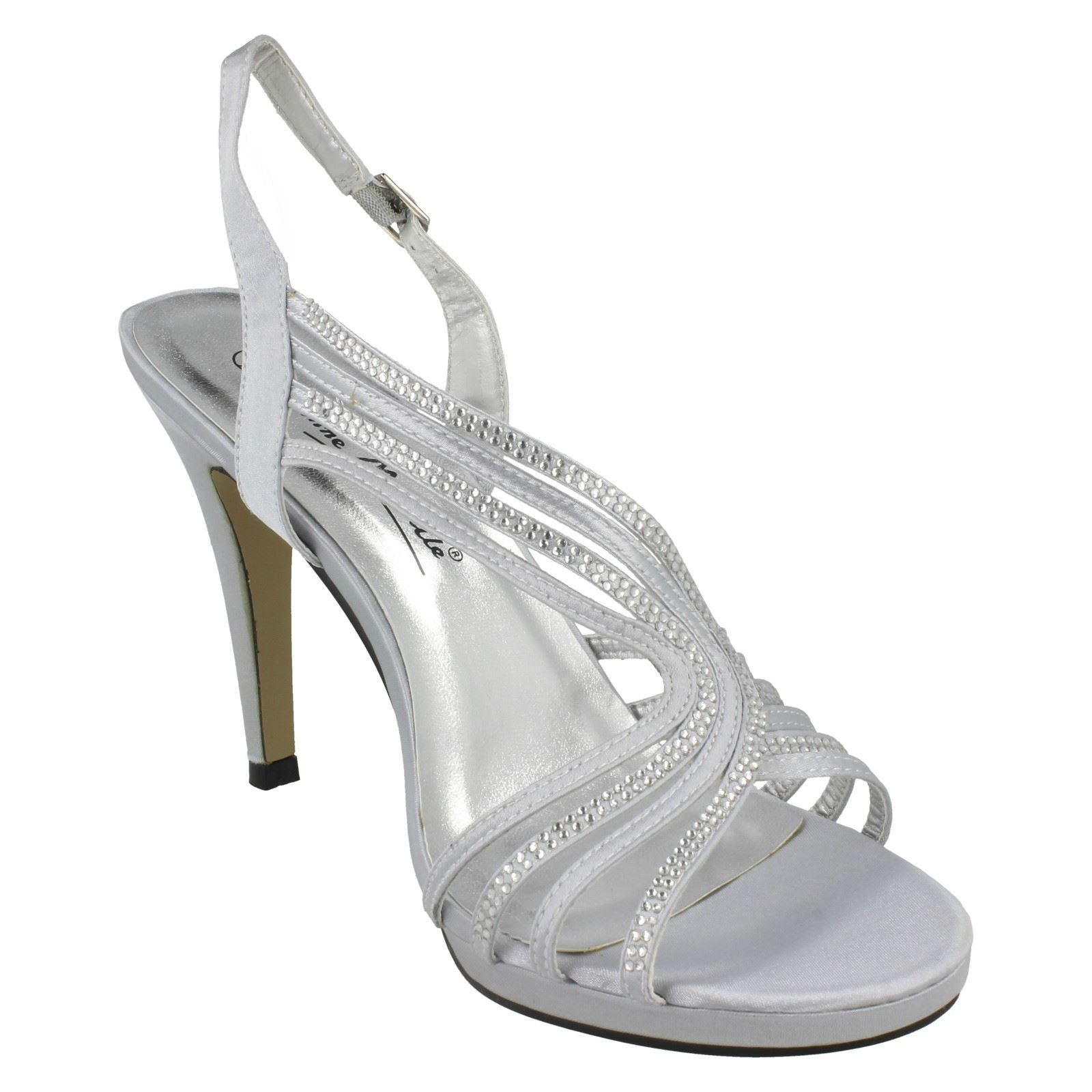 Anne Michelle Ladies Diamante Twist Strap Open Back Heels