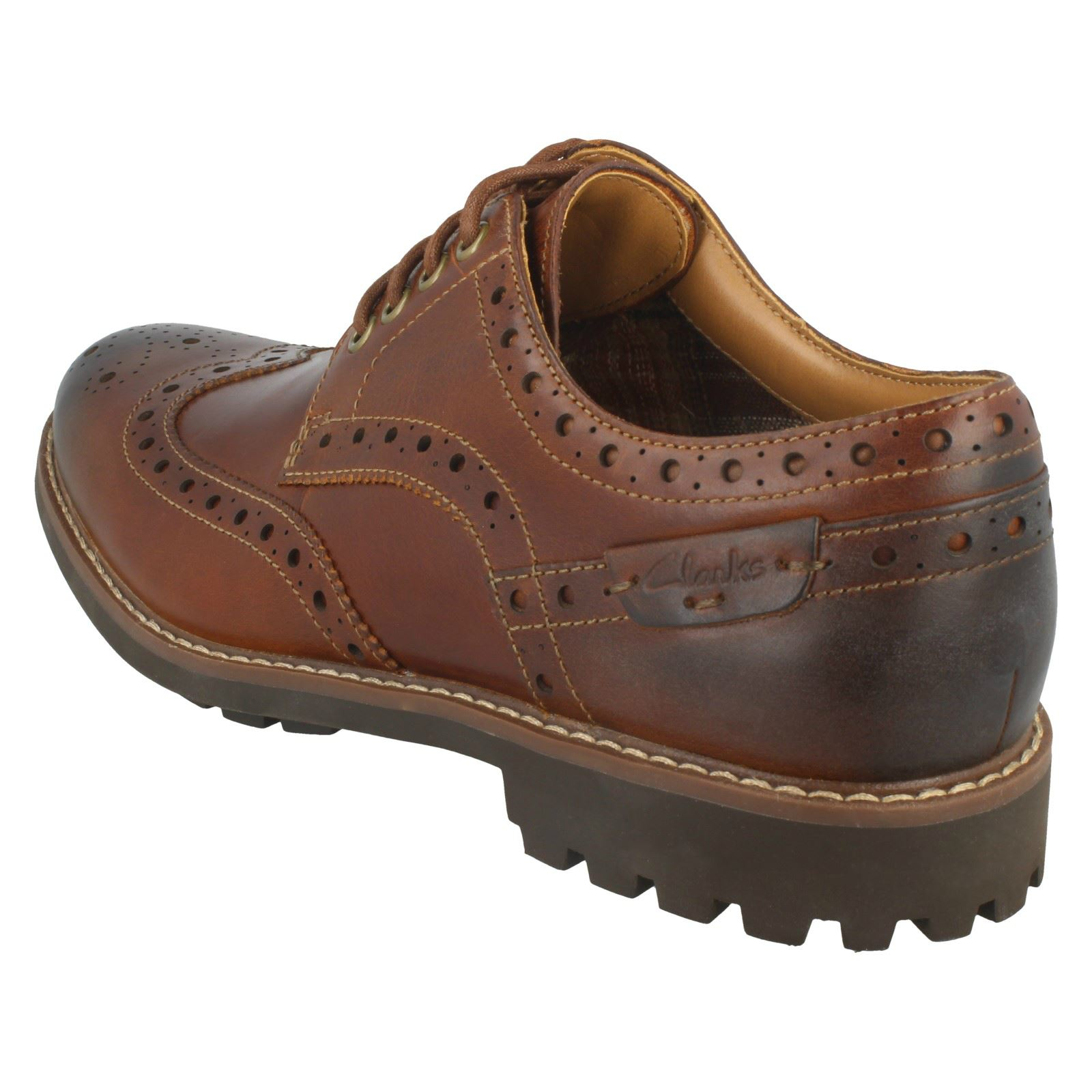 Dark Clarks para marrón hombre cordones Shoes cuero Montacute Tan Formales Wing de Brogue con x4Px6