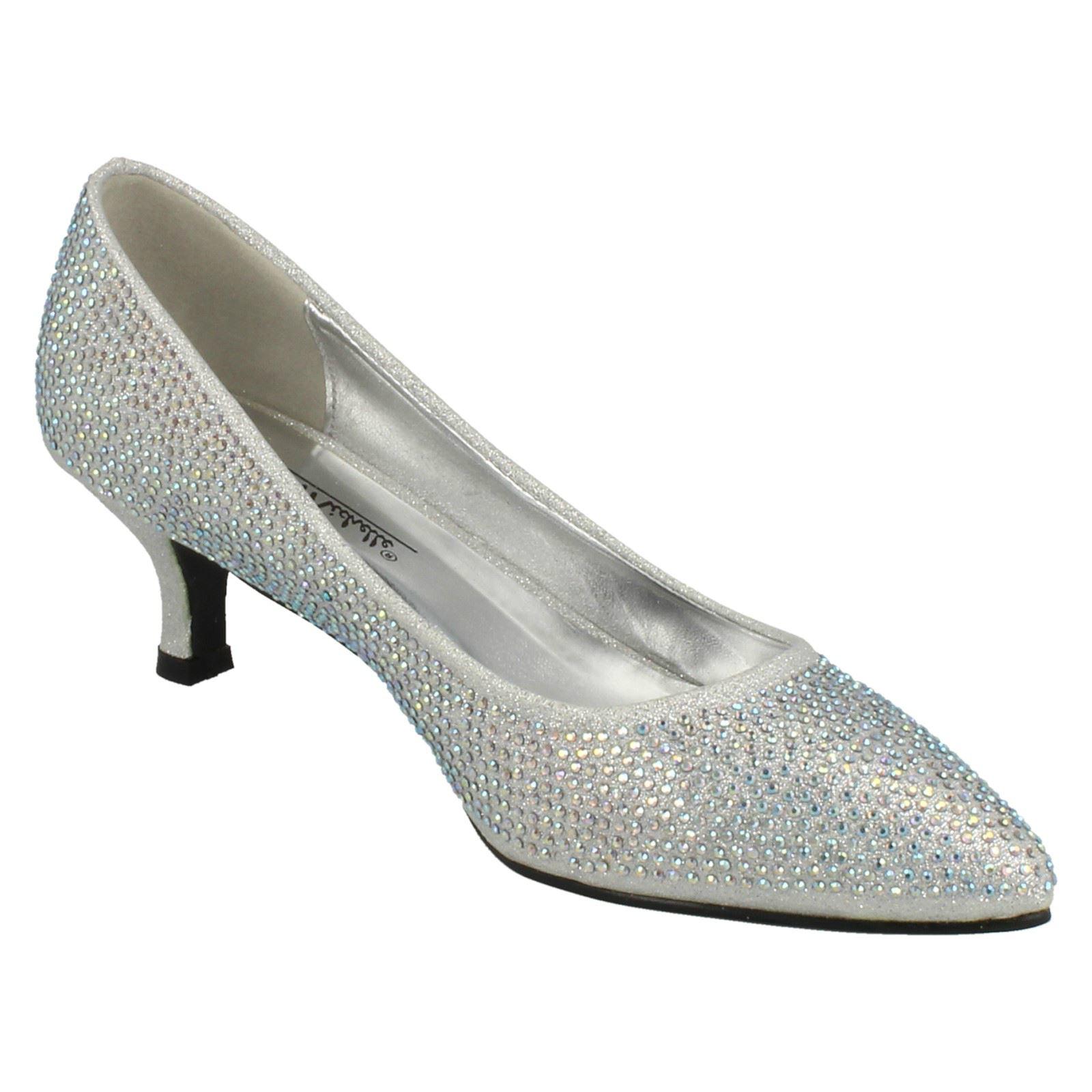 Ladies-Anne-Michelle-Diamante-Low-Heel-Court-Shoes thumbnail 30