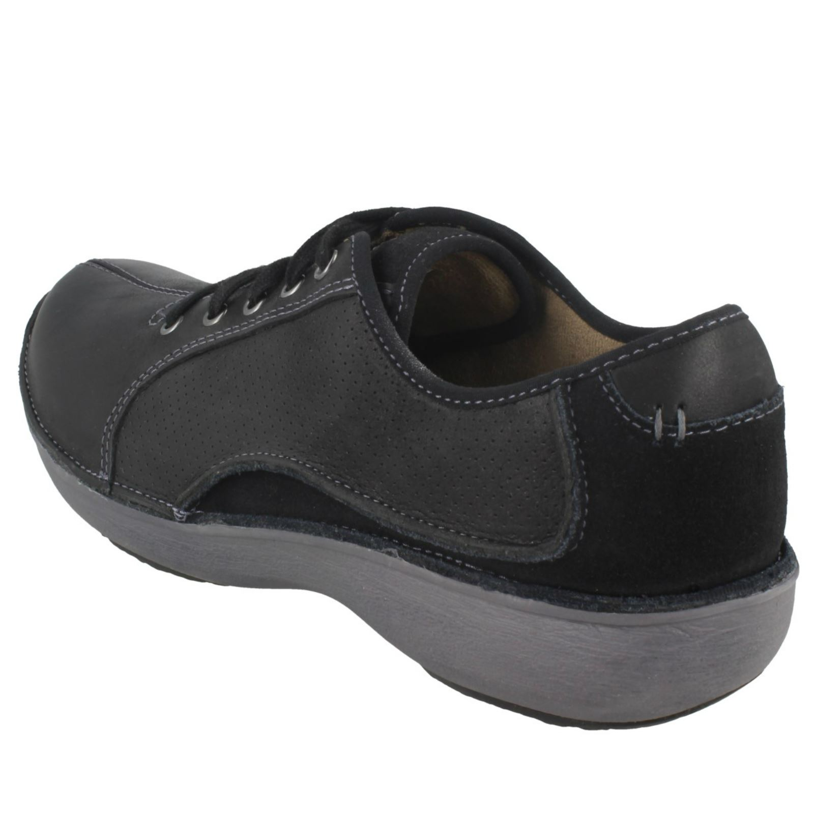Ladies Casual Toe Clarks Black Leather Wave Lace Rounded Up Shoes Drift qSrqHwn