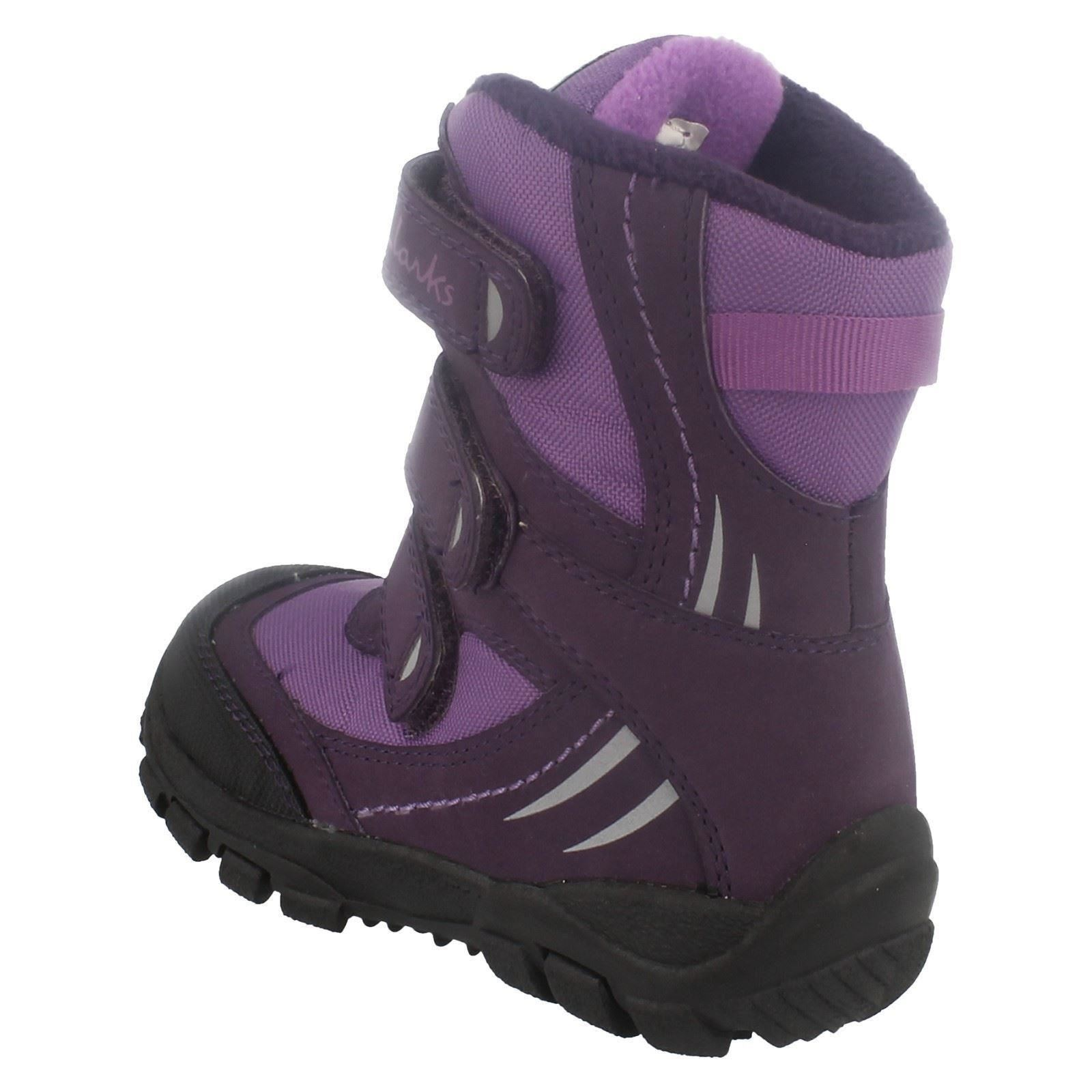 Girls Clarks Hook & Loop Snow Boots Snow Day G